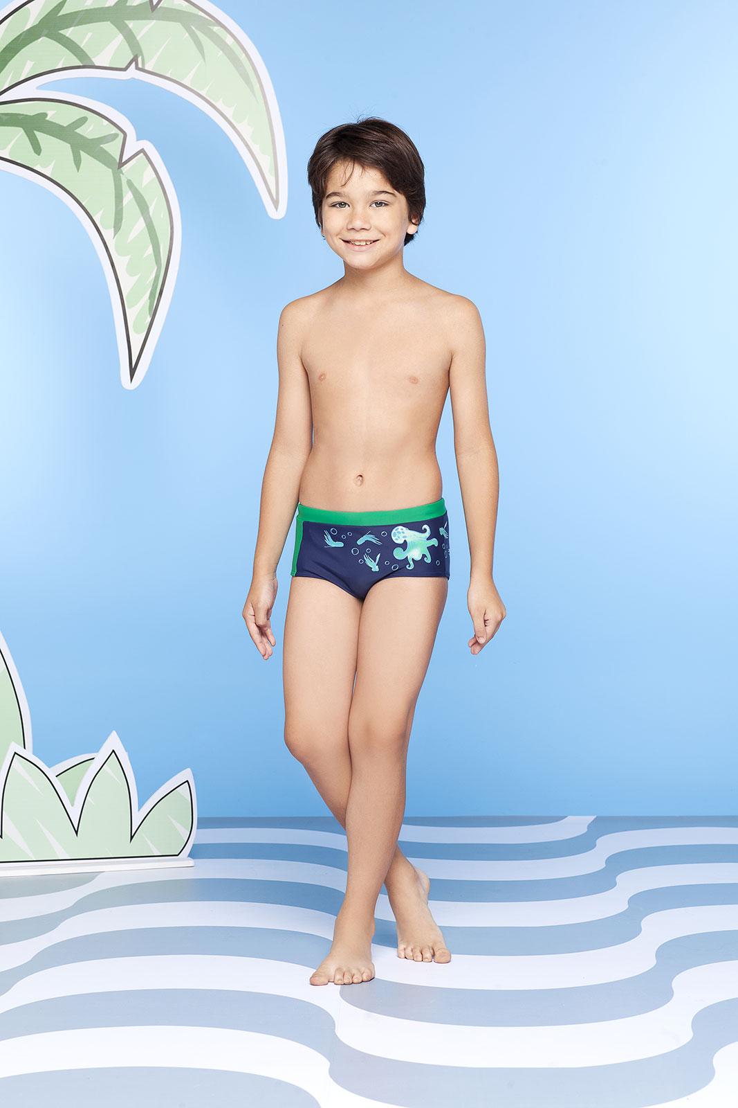 Boys` Navy Blue And Green Octopus Print Swim Trunks - Polvo