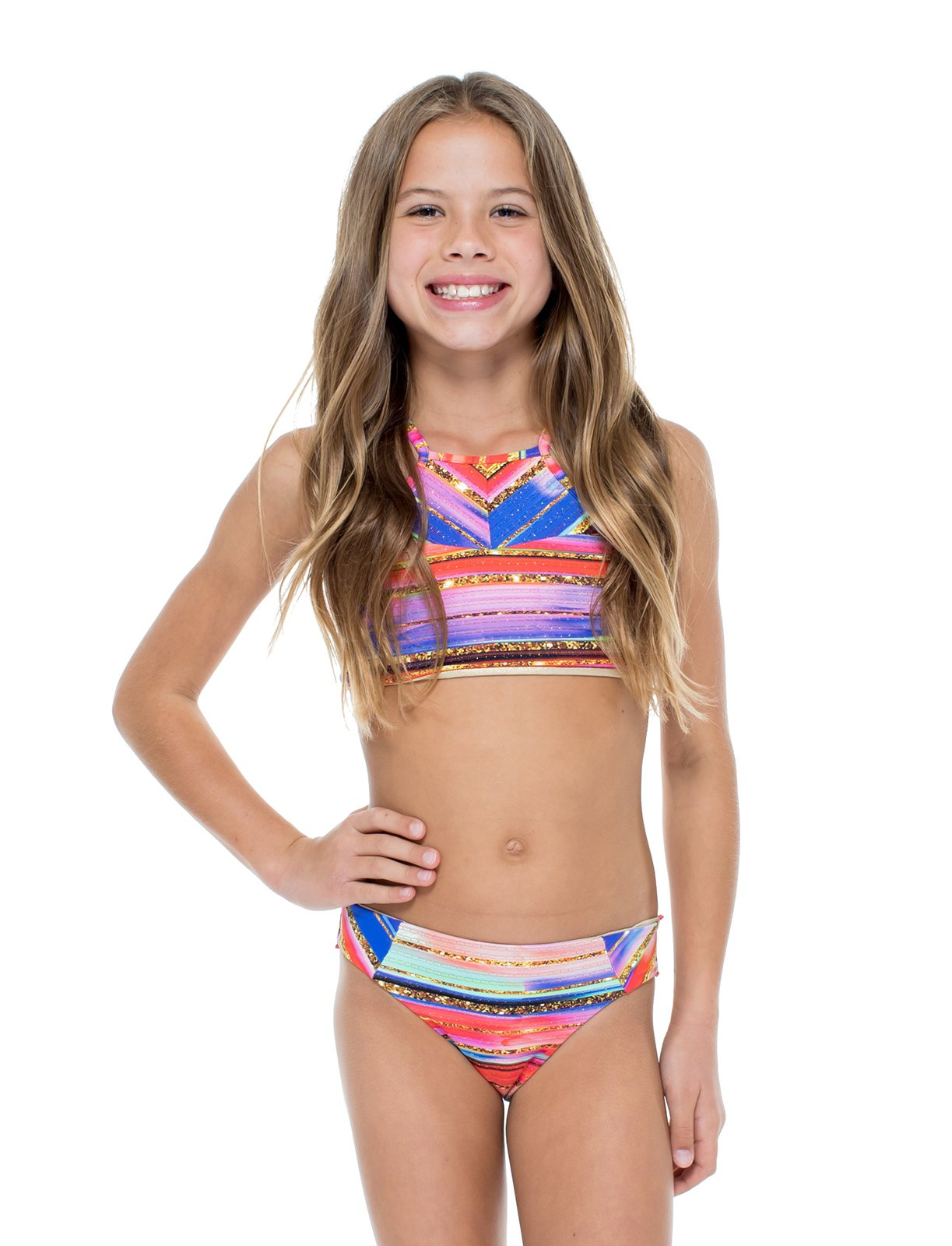 Gold Print Reversible Girl's Crop Top Bikini