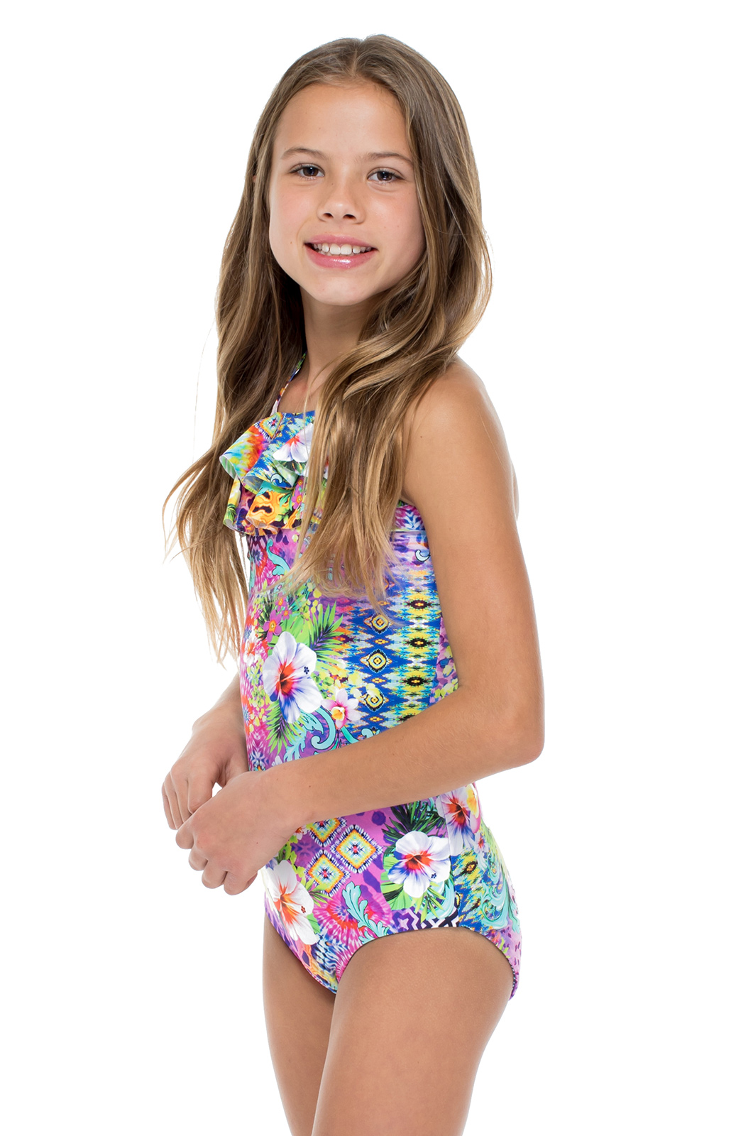 Frilly Print Girl's One-piece Swimsuit
