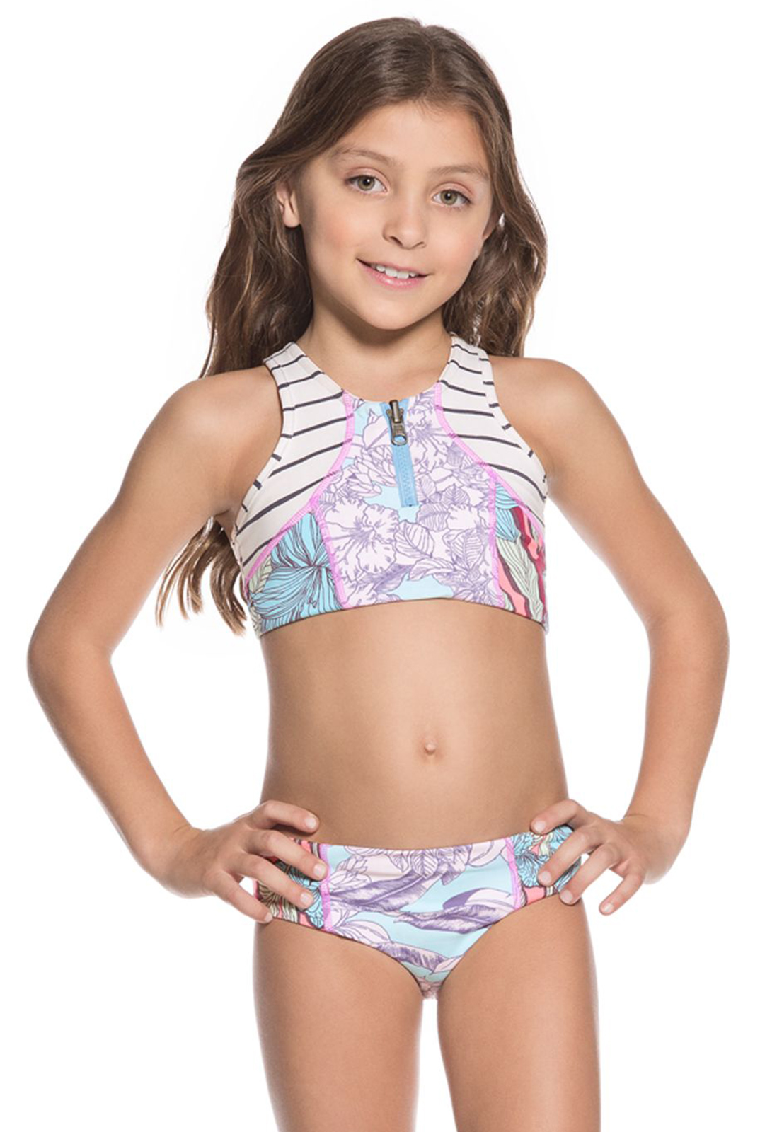 Little Girls Crop Top Bikini Set In A Mixed Pastel Print