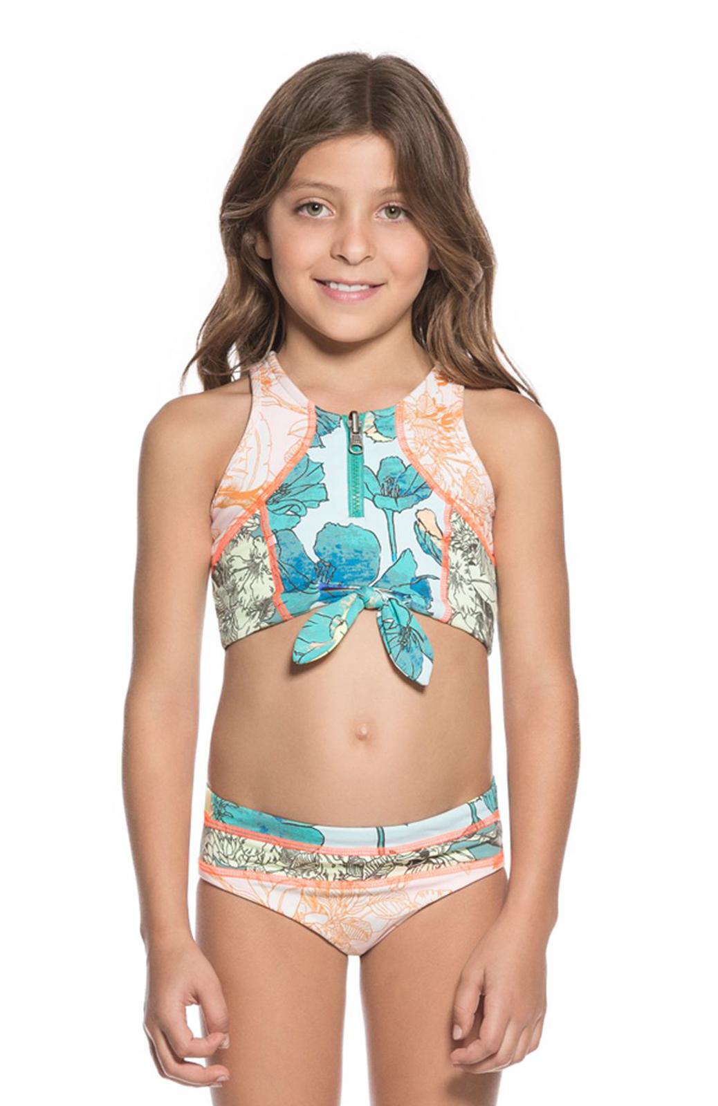 6a15c2f9351 Little Girls Mixed Print Bikini Set With Bow-tie Crop Top - Its Knot Me -  Maaji