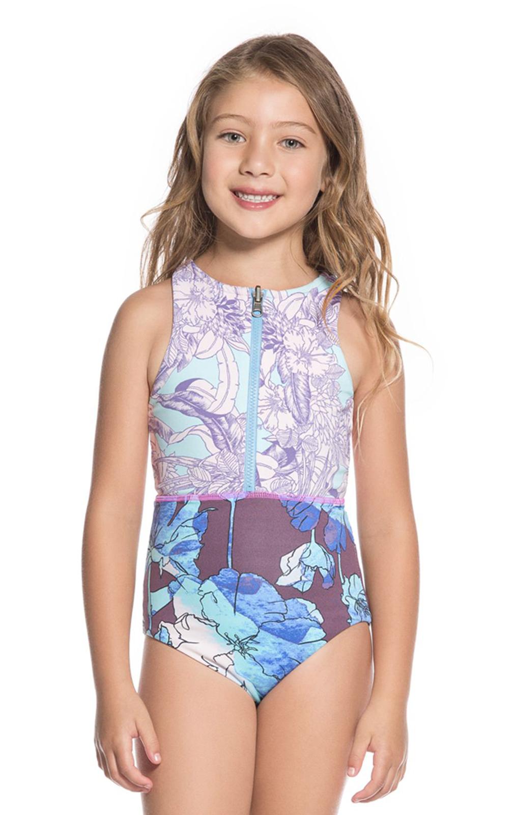 9d090007d6cb6 Little Girls Zipped Purple Print One-piece Swimsuit - Santa Catalinita -  Maaji