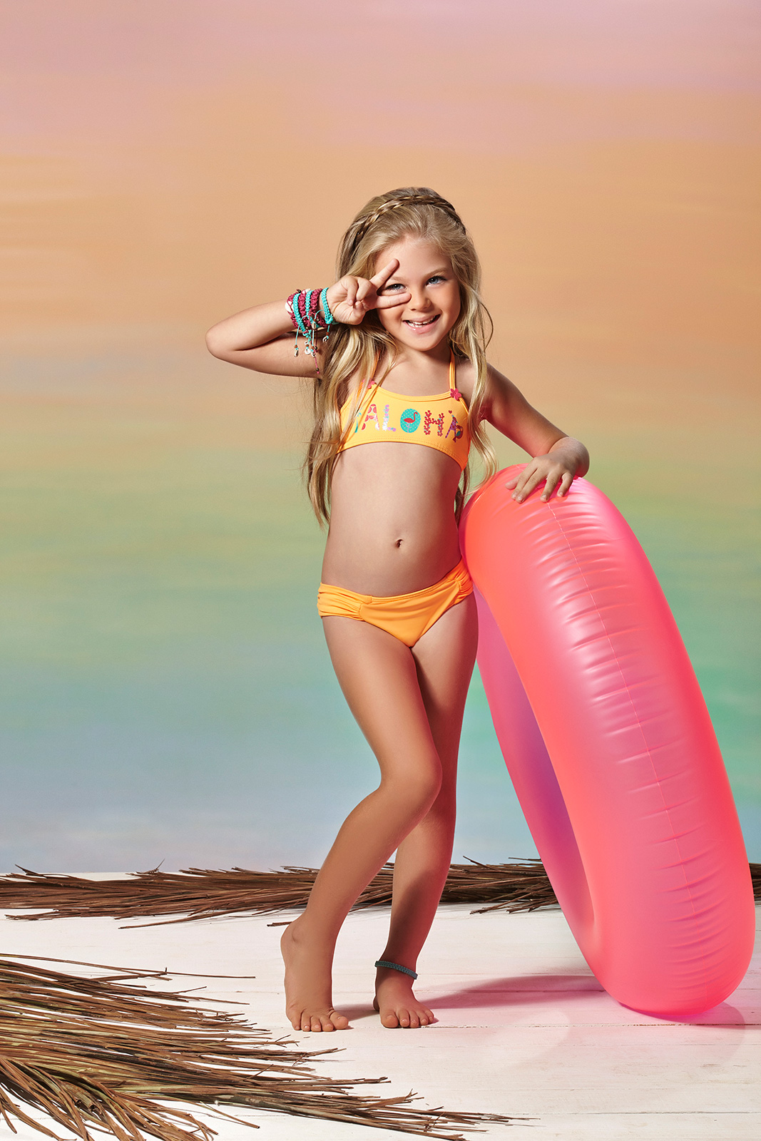 Requinho Little Girls Orange Two Piece Swimsuit Aloha Coral