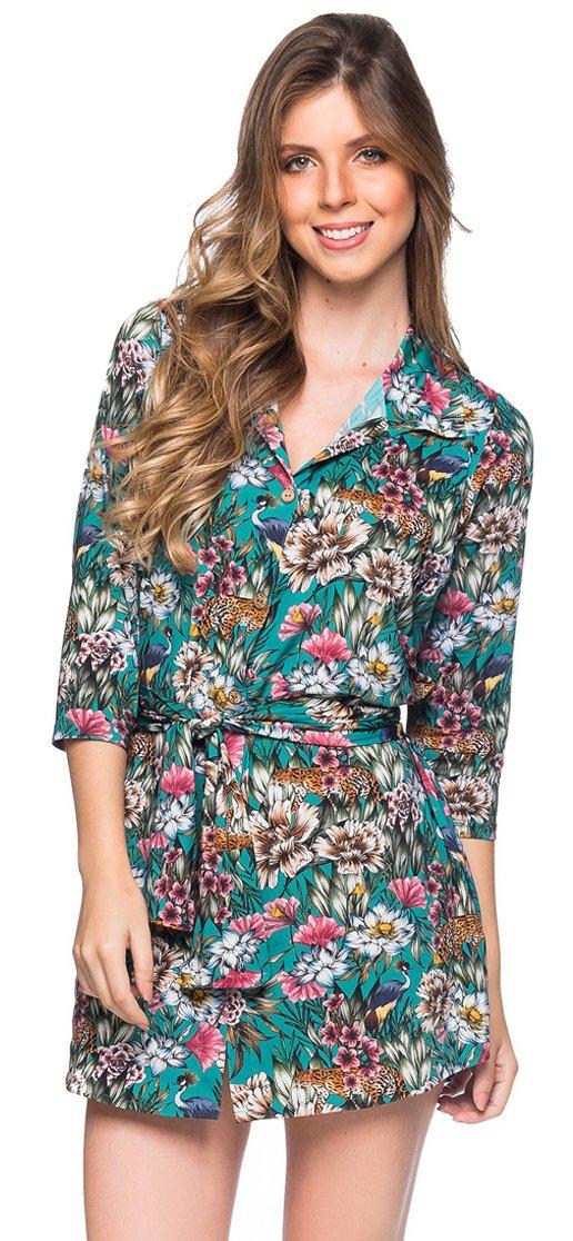 04326aa5722 Shirt beach dress with 3 4 sleeves - green floral print - CHEMISE FAIXA  TROPICAL ...