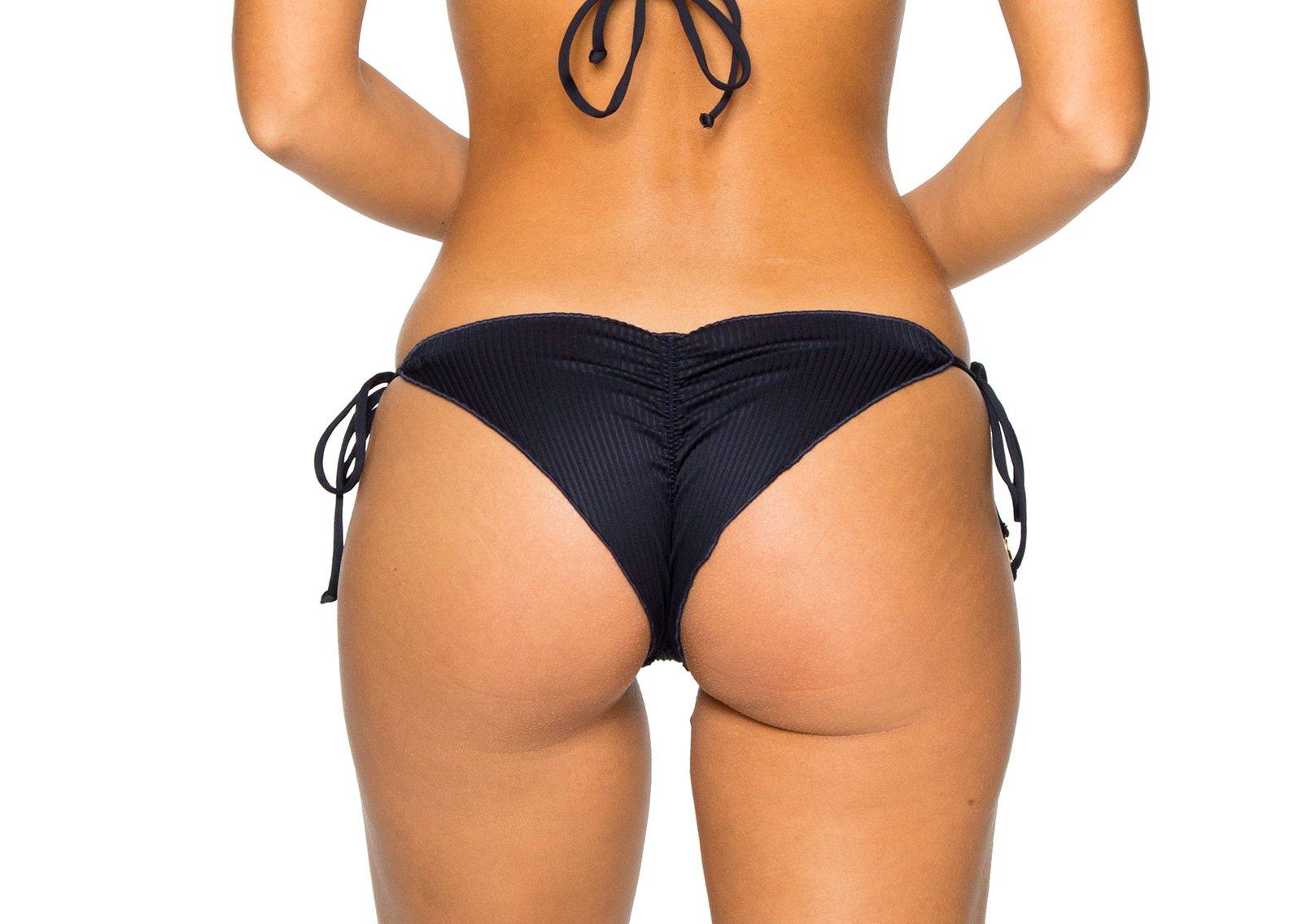 a18dc87a962 ... Side-tie scrunch black Brazilian bikini bottom - BOTTOM SEAMLESS MAR  COSTA DEL SOL ...