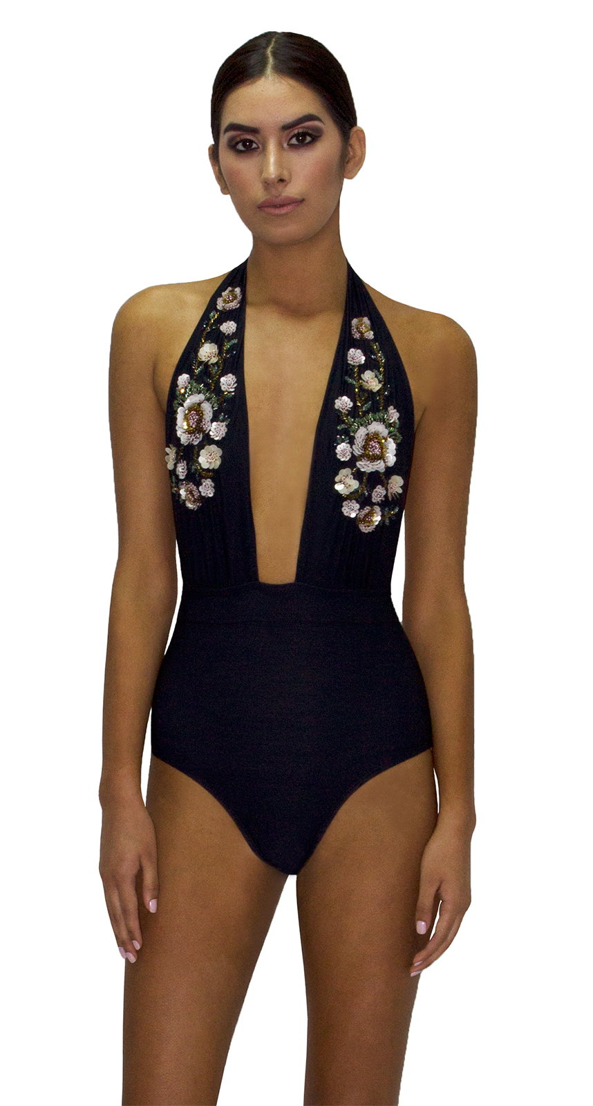 6c249b8c508 Black plunge one-piece swimsuit with sequined flowers - MAIO ROSA PASTEL ...