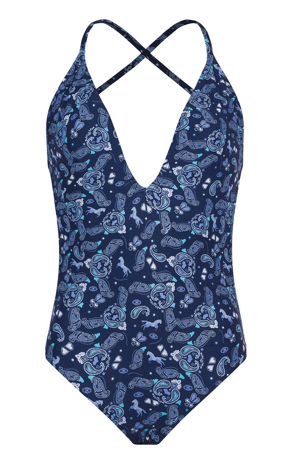 64314e9836148 Blue Bandana One-piece V-neck Swimsuit - Bettyswim Navy - Amenapih