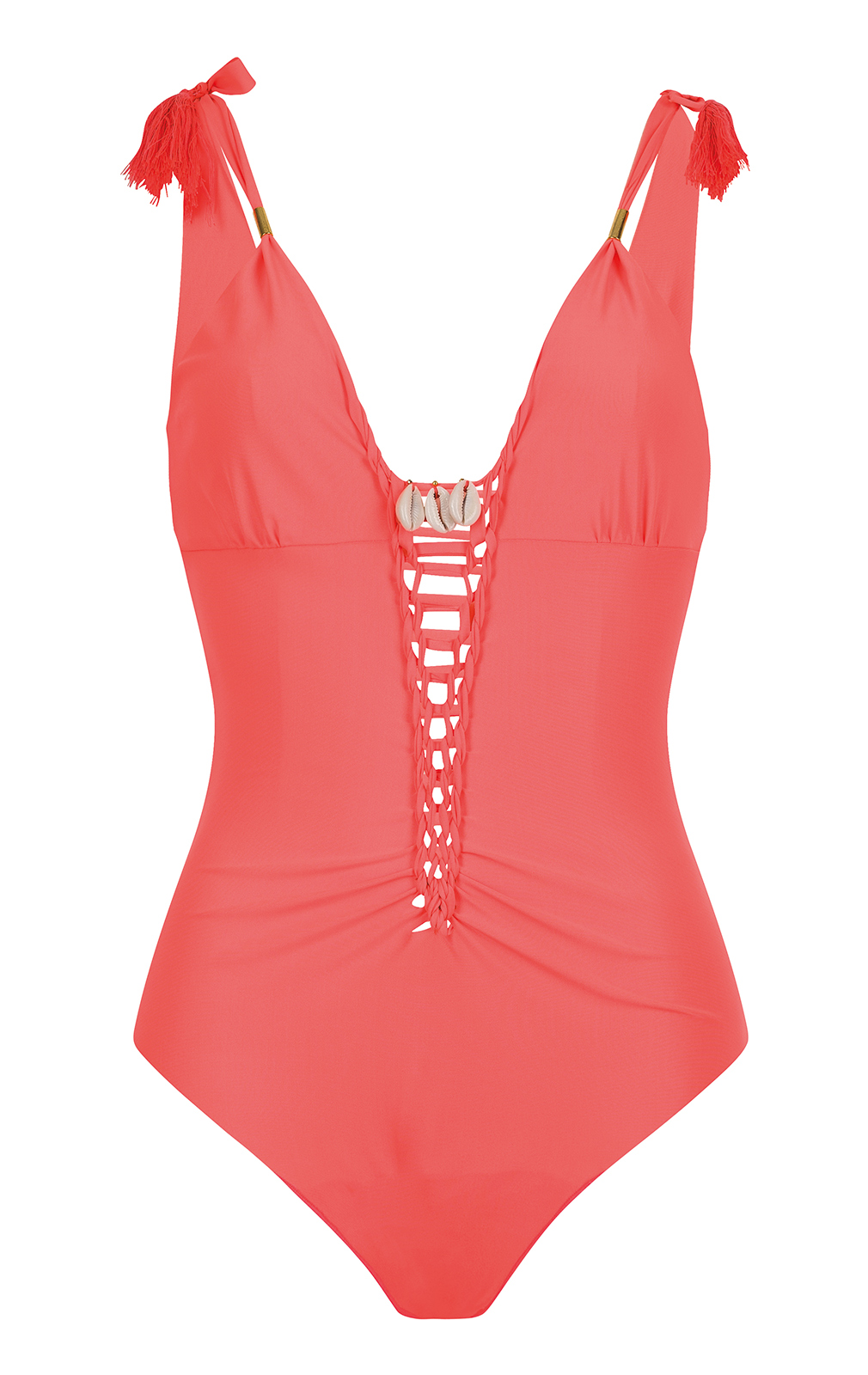 Fluorescent Red One-piece Swimsuit With Dual Neckline ...