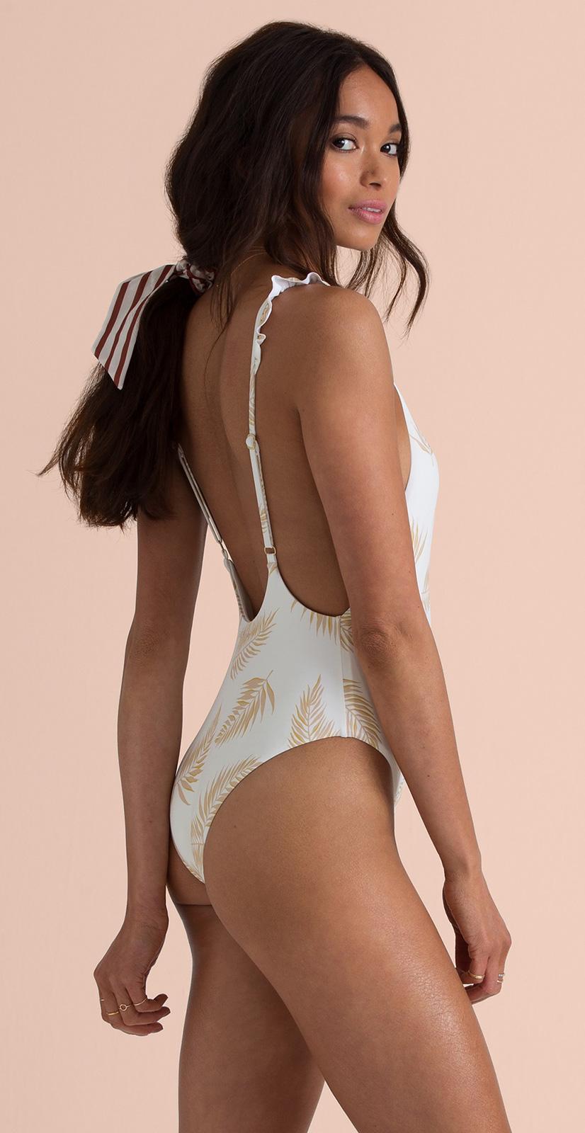 f6ada951f1 Feather Print One-piece Swimsuit - Dos Palmas Seashell