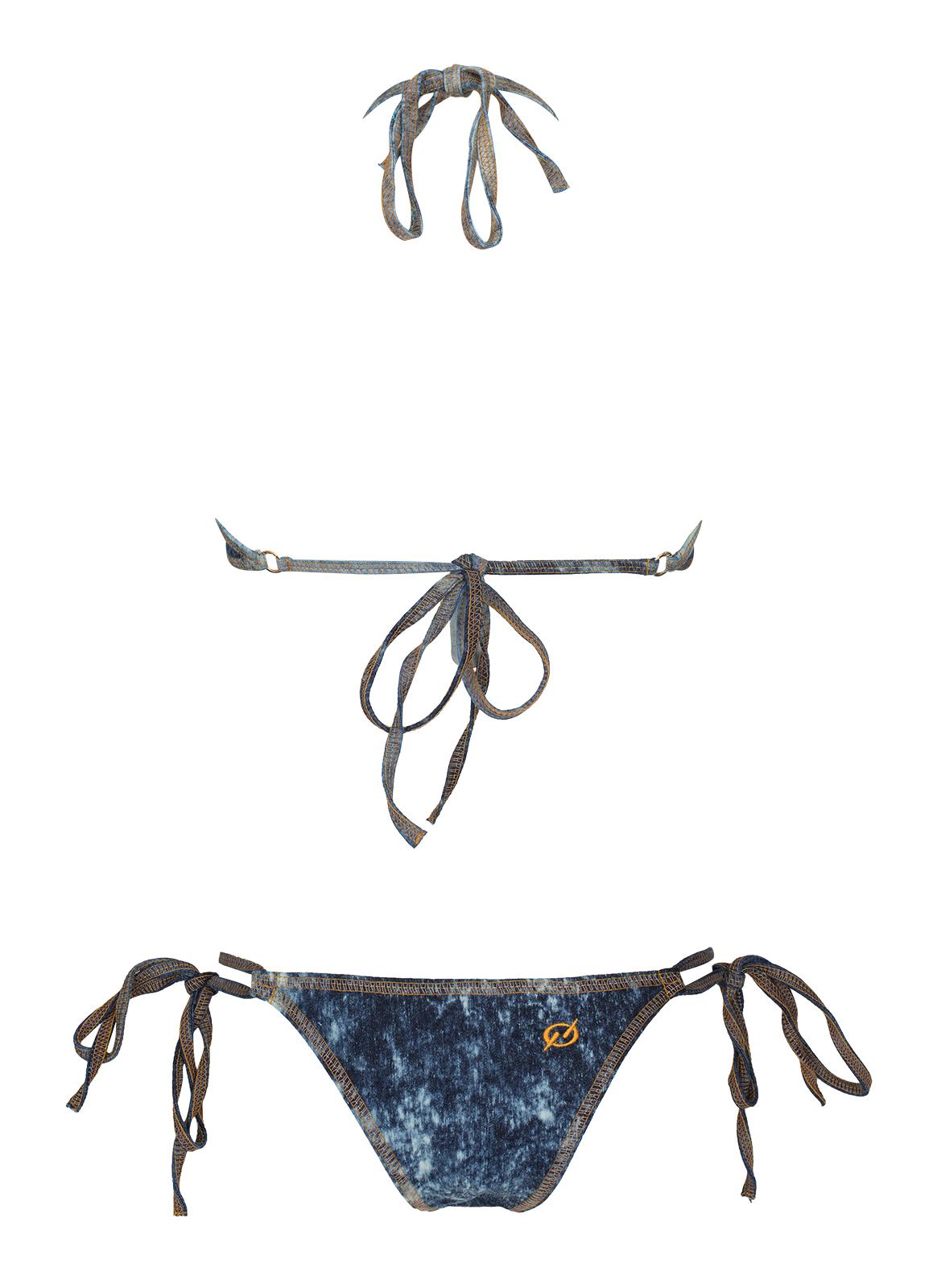 Bañadores Trikini Jeans Con Lazos Y Costuras Naranja - Fenix Jeans