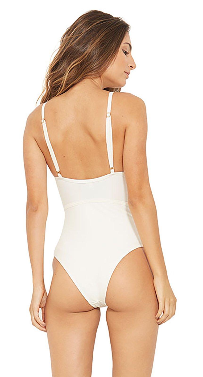 74d1bc74c6d ... Ecru one-piece swimsuit with a strappy neckline - GOLF BRANCO PEROLA ...