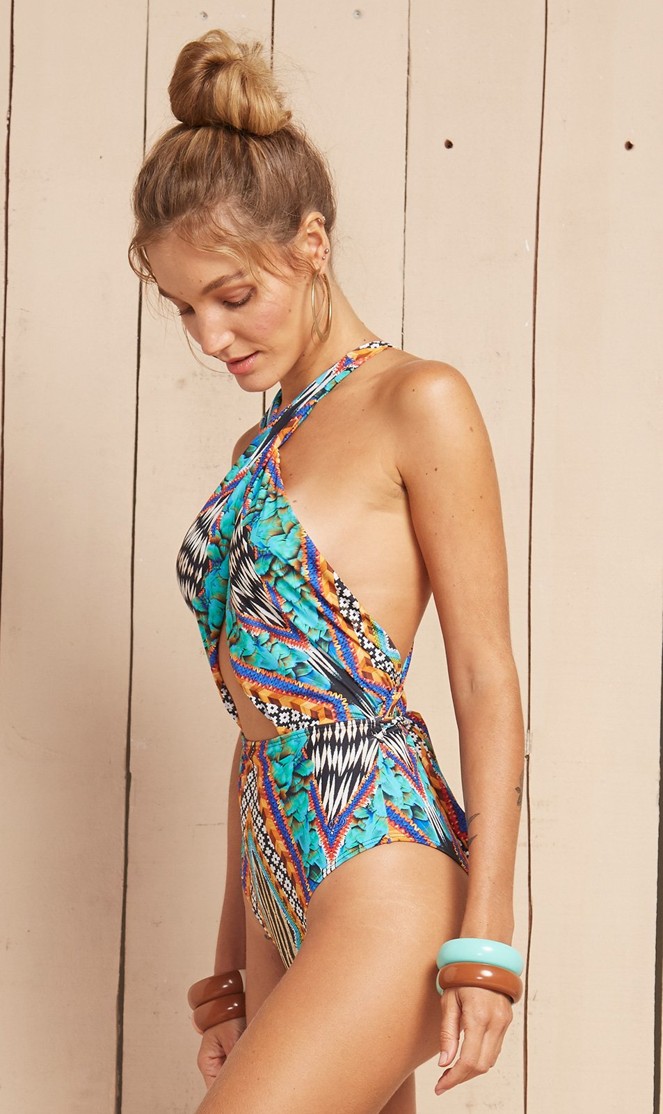 ea9280da9ad Printed One-piece Swimsuit With Criss-cross Front And Back - Onda ...