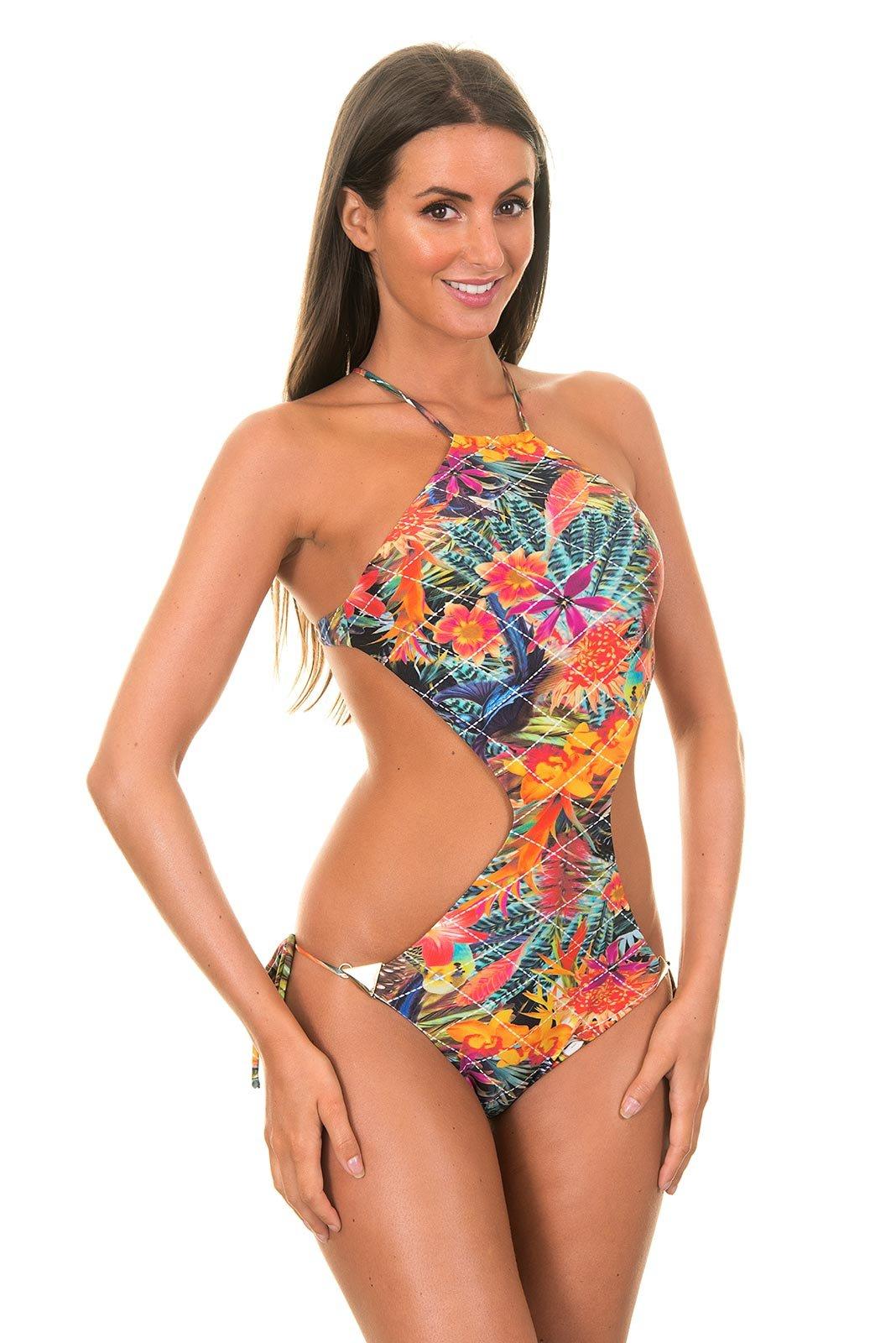 costume da bagno intero trikini stampato a fiori tropicali recorte desejo