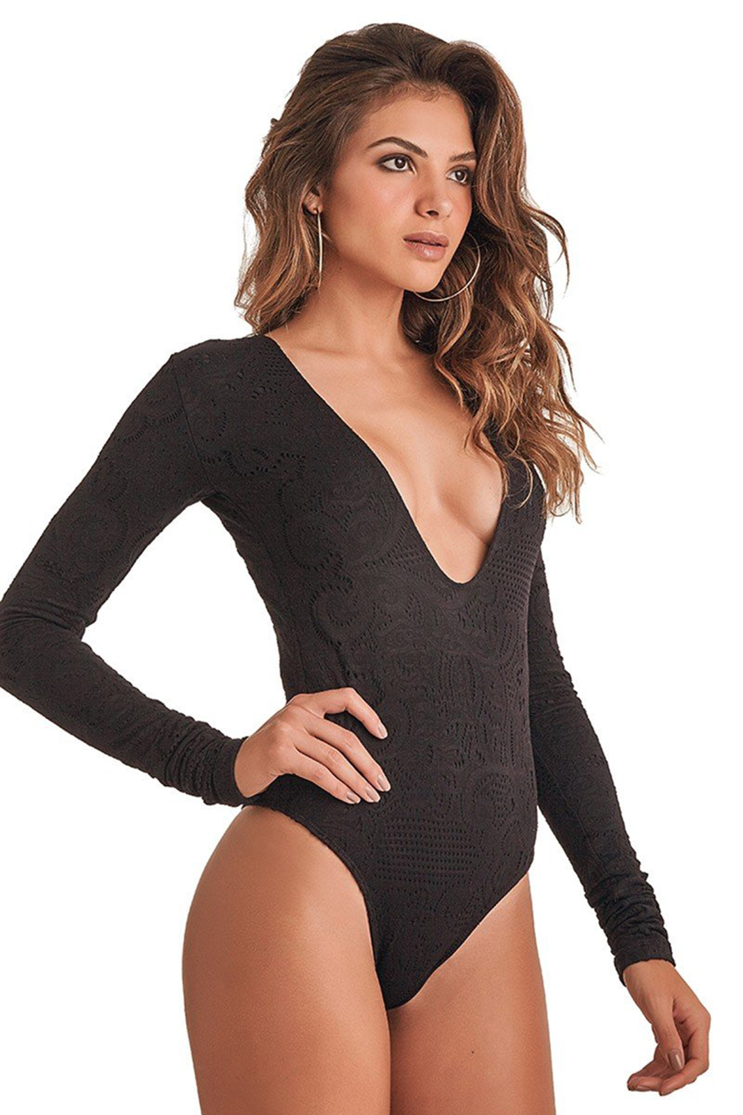 7025d899573 One piece swimsuits Black Long-sleeve One-piece Swimsuit - Body Black