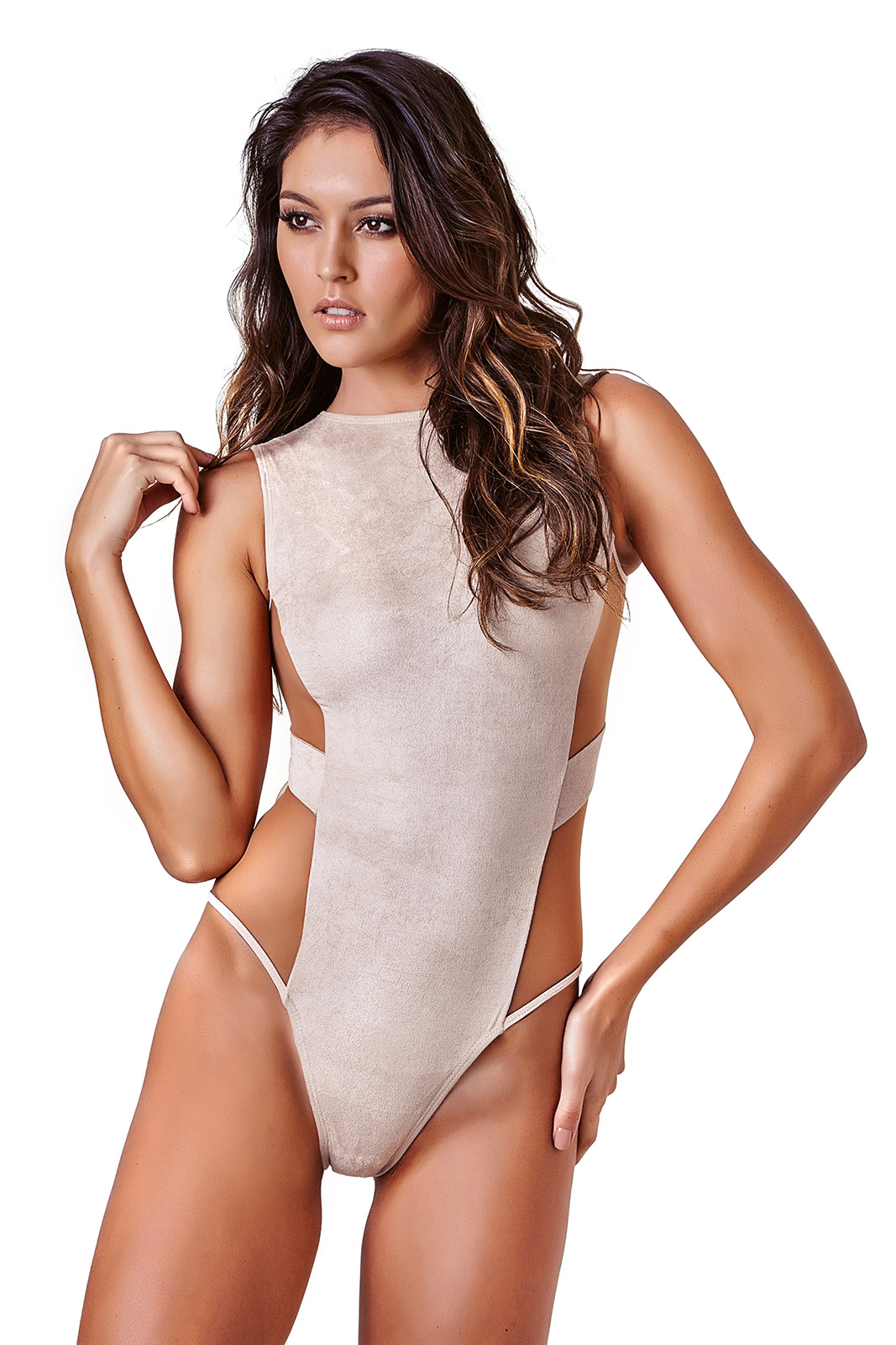 Two-Material Nude Suedette And Transparent Bodysuit - Body -2221