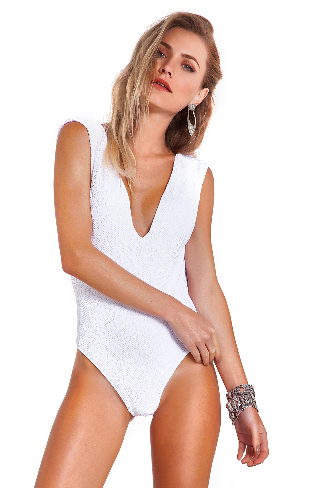 One Piece White Swimsuit With Plunging Lace Neckline