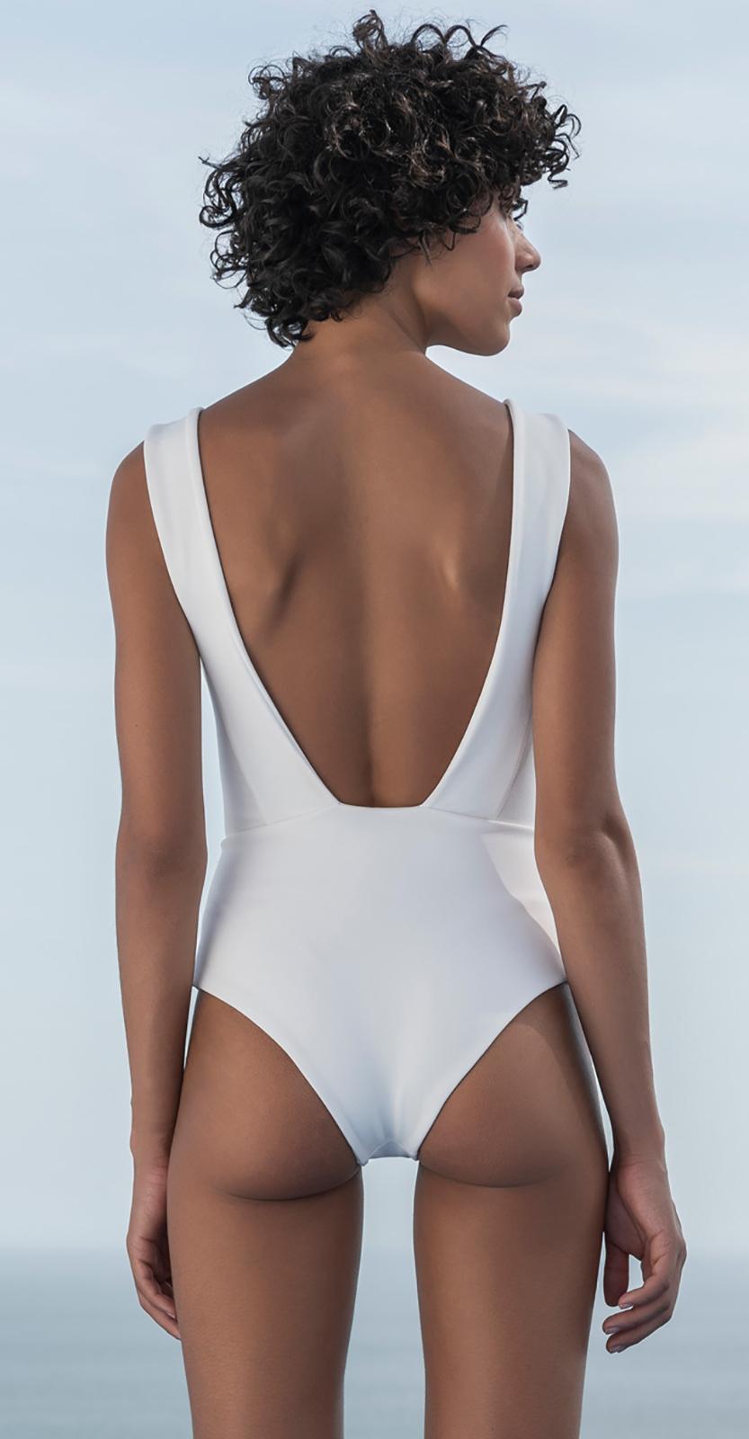 037d900816bb6 ... White tricot knit one-piece swimsuit - MAIÔ AMANDA TRICOT OFF WHITE ...