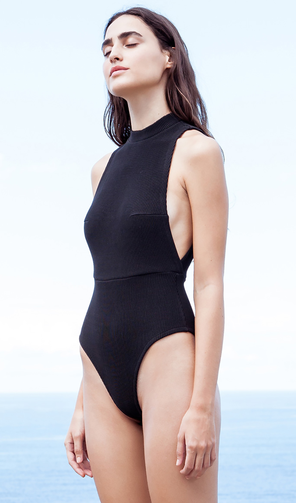 7a28e1e76559d ... Black tricot knit one-piece high-neck swimsuit - MAIÔ TRICOT KATE PRETO  ...