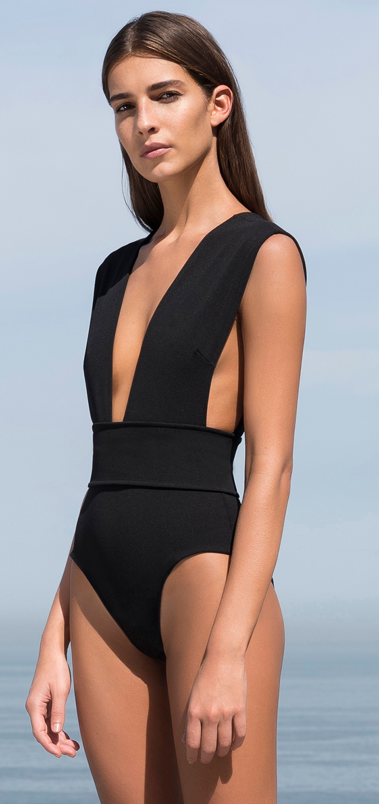 c7660677f80f3 Black Tricot Knit Swimsuit Deep V Neckline - MaiÔ V Crepe Preto - HAIGHT