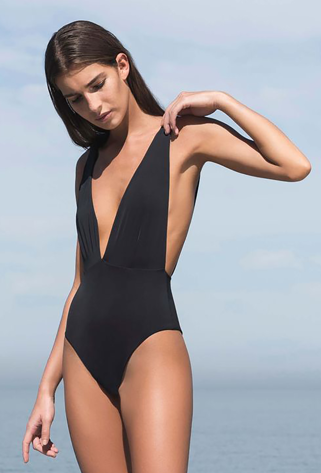 607ab07930 One piece swimsuits 1-piece Swimsuit V Neckline In Black - Maio Marina