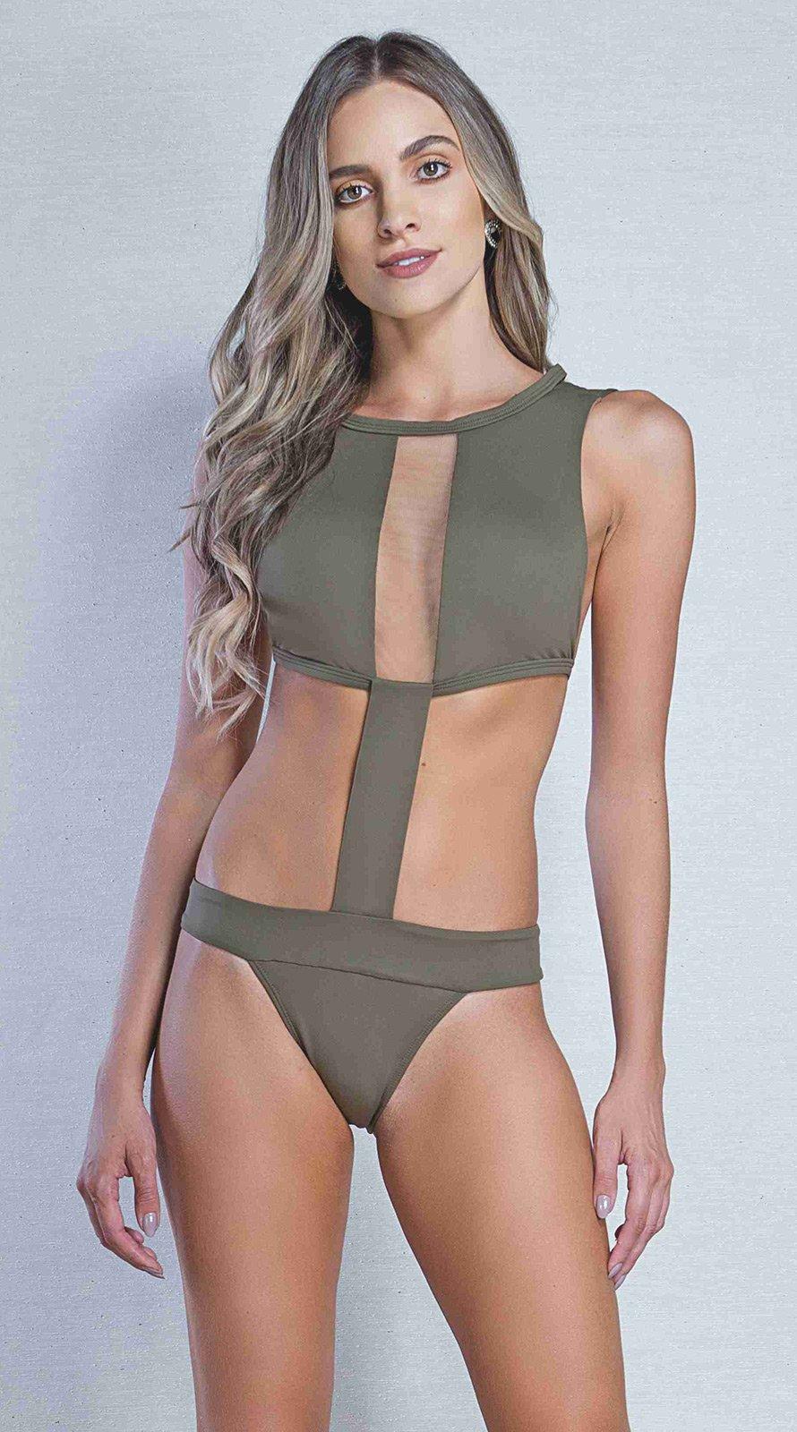 370cf6655b Khaki High-neck Monokini With Transparencies - Engana Mamae Verde Musgo - Karla  Vivian