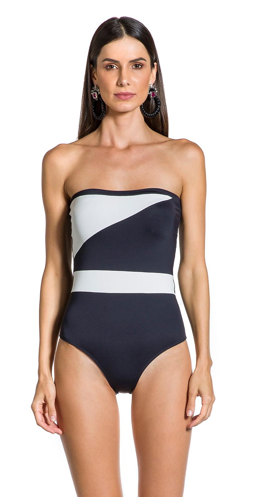 9238ef6b46 Black and white bandeau one-piece swimsuit - BODY P&B PRETO ...