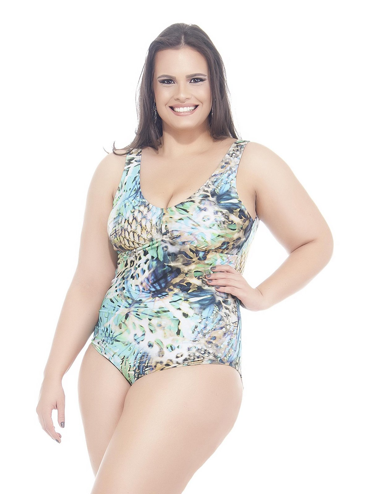 62a44e4ff4d One piece swimsuits Blue Printed Plus Size One-piece Swimsuit - Carpa