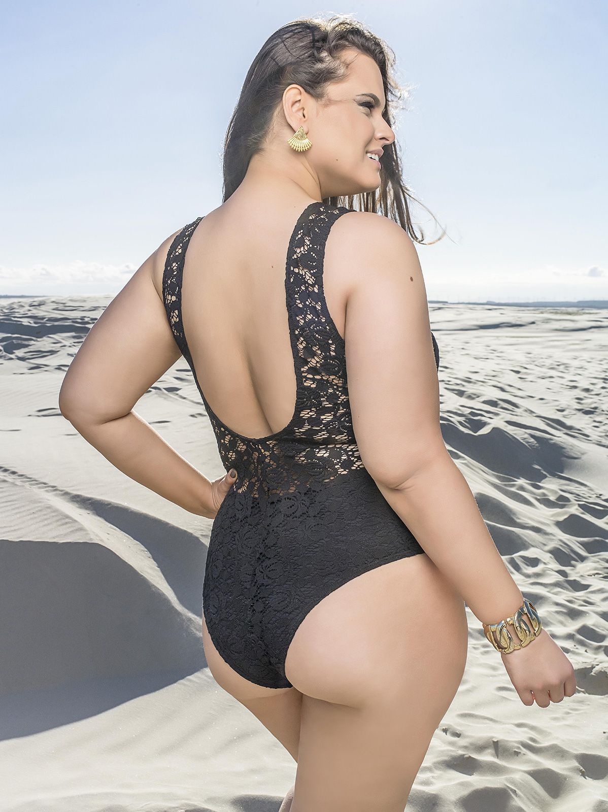 2425009bc8f ... Black plus size one-piece swimsuit with lace detail - MAIO LAISE ...