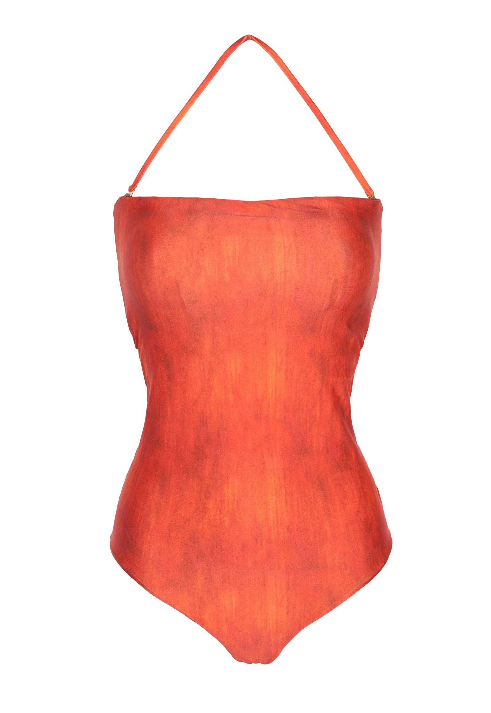 9361209c8b5736 Pomarańczowy, jednoczęściowy strój kąpielowy z większym biustem i wieloma  paskami z tyłu ...