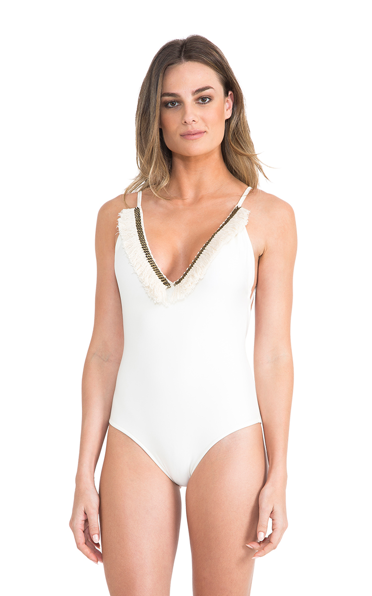 one piece white swimsuit with a frilled neckline fringe maillot off white. Black Bedroom Furniture Sets. Home Design Ideas