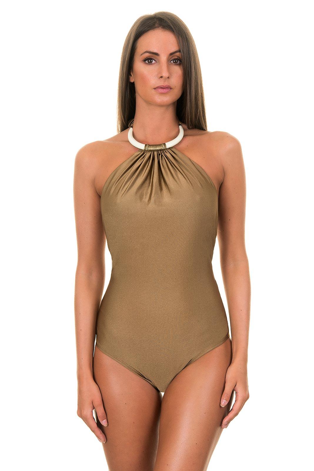Traje de ba o de una pieza dorado oscuro atado al cuello for Ganchos para trajes de bano