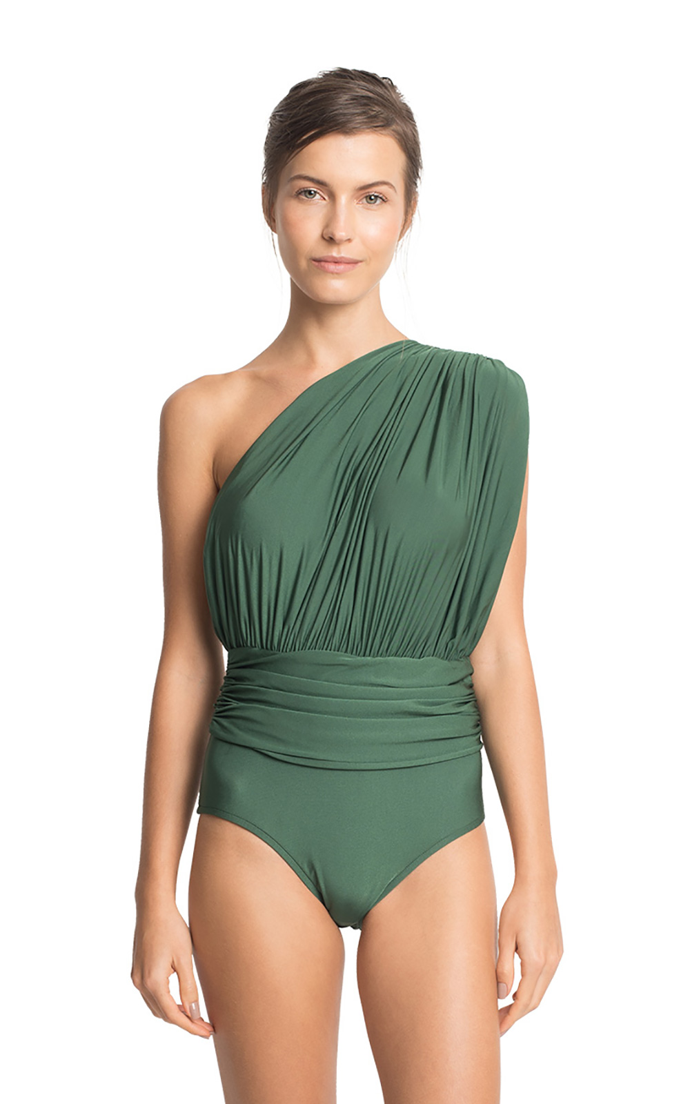 0fa078e86c3 Green Ruched Asymmetrical One-piece Swimsuit - One Shoulder Draped ...