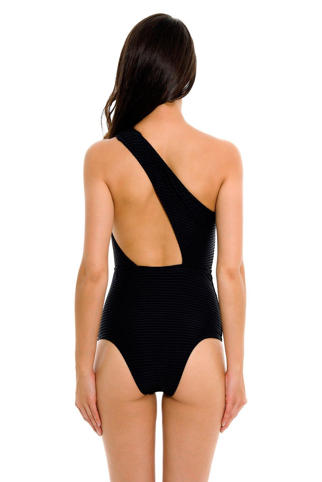 Traje de ba o negro de una pieza asim trico con escote for Traje de bano negro