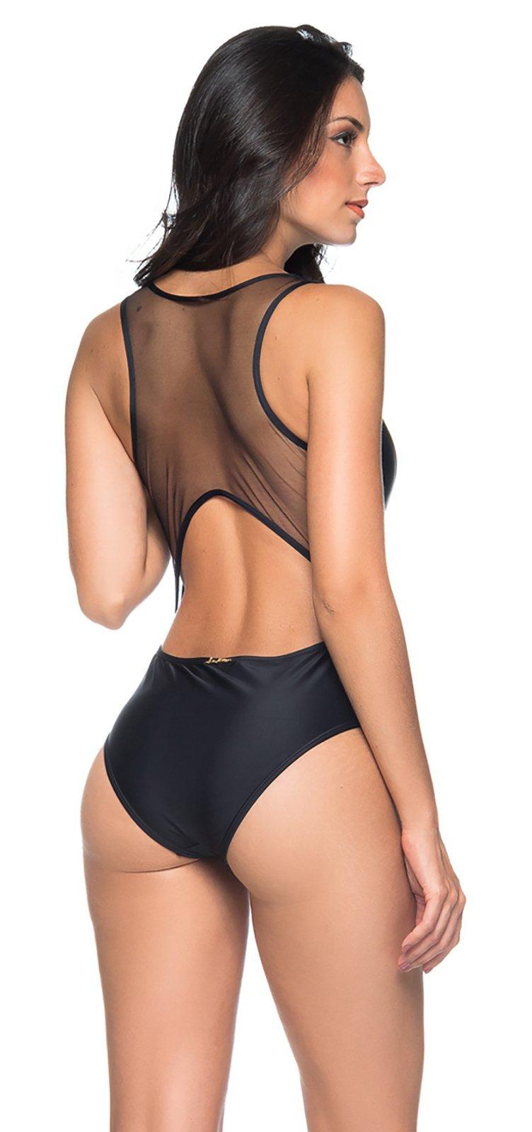 35228b08d Black Swimsuit With A Zipper And Transparent Back - Maio Preto - Lua ...