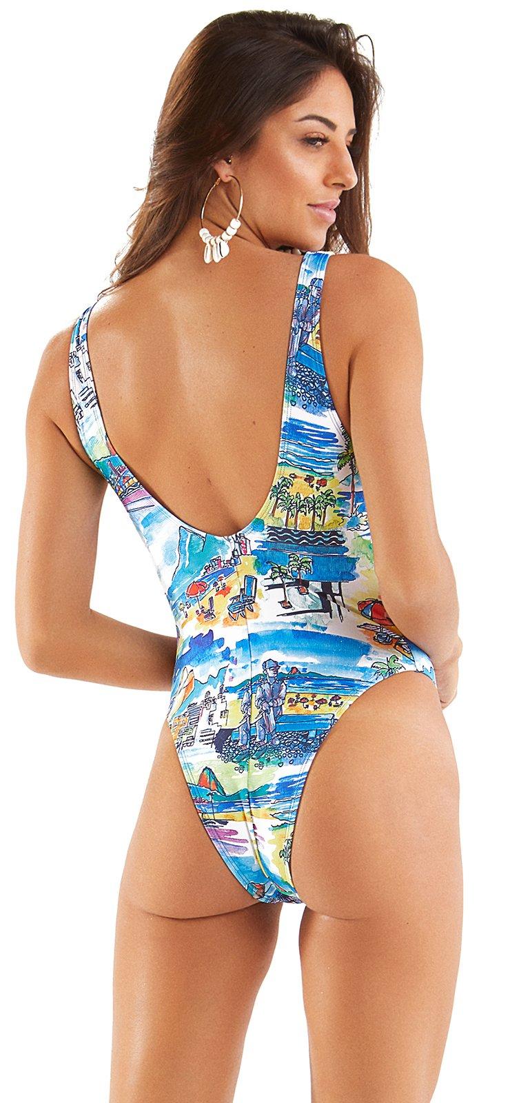 Maillot 1 Pièce Imprimé Paysage De Rio De Janeiro Maio Aquarela Rio Mar Rio