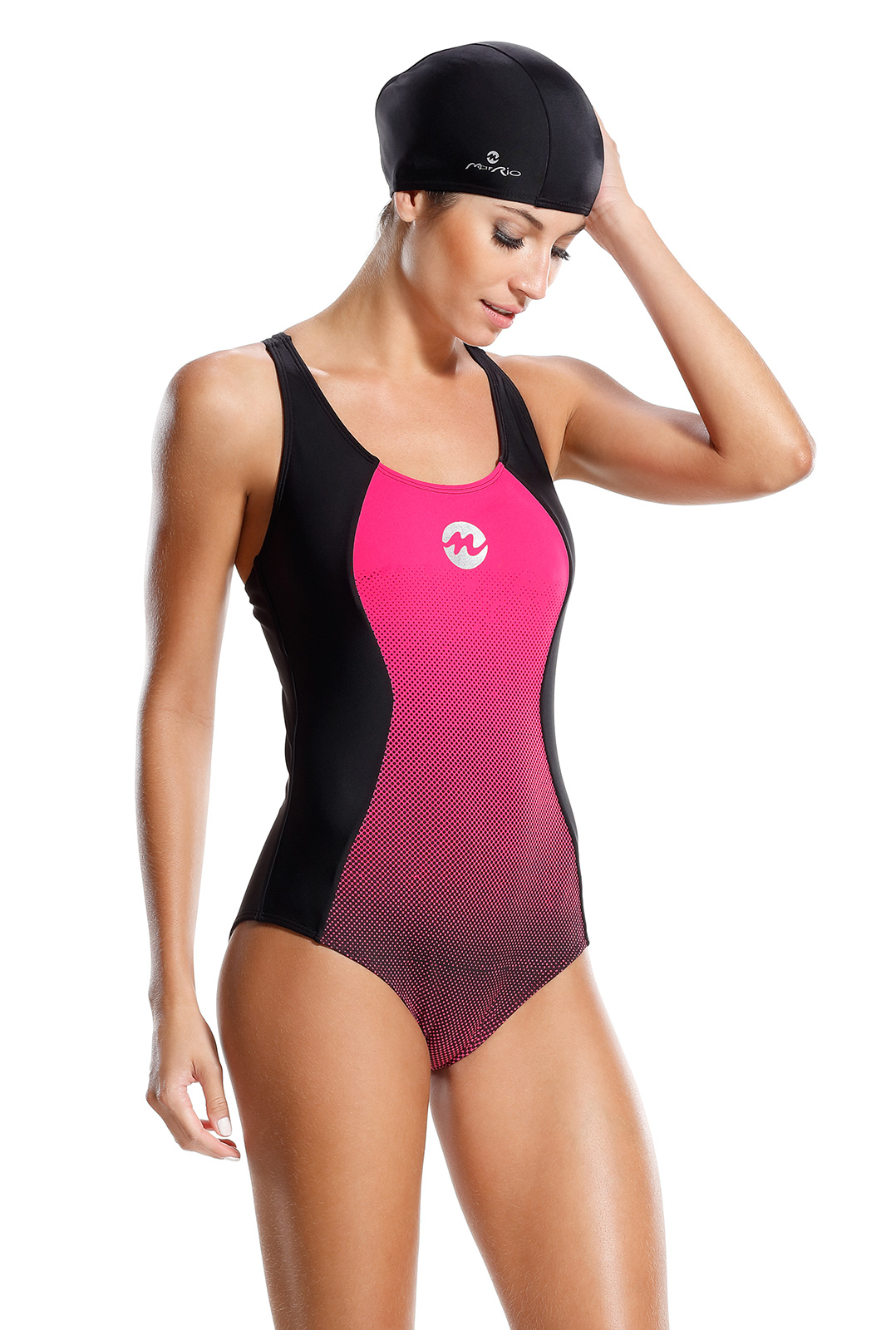 31220d6301b Ολόσωμα Ροζ και μαύρο, αθλητικό μαγιό - Maio Caribe