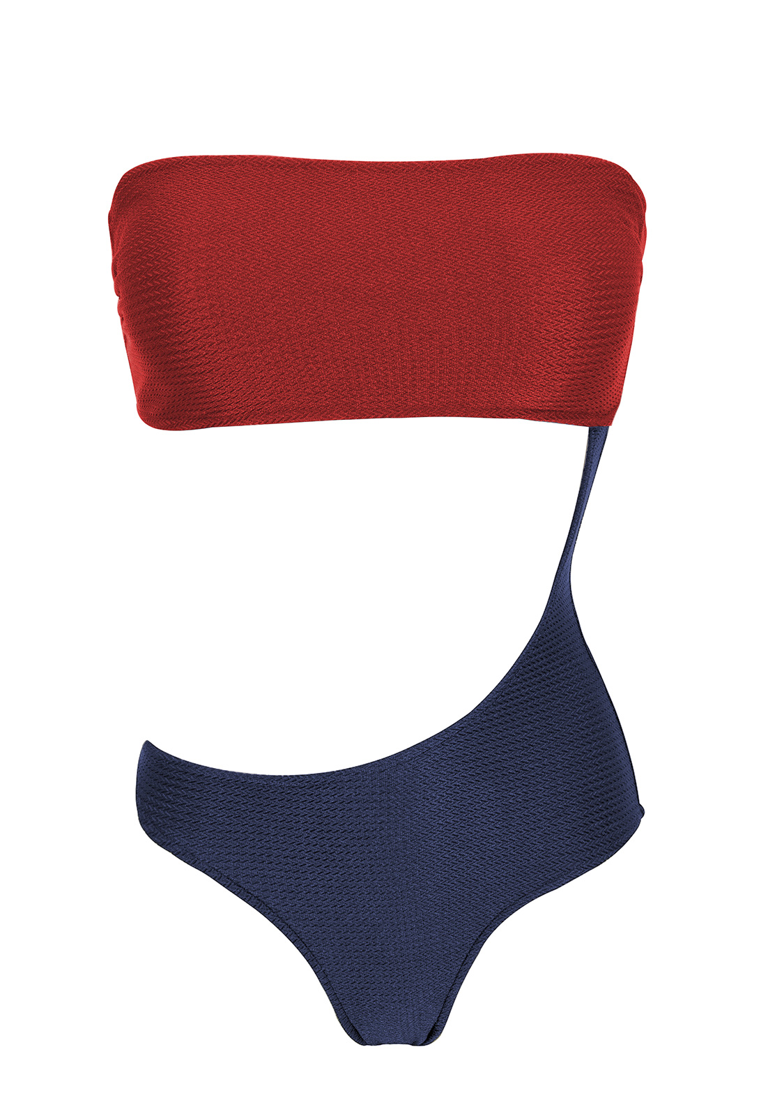 Bandeau Badpak.Asymmetrisch Bandeau Badpak Rood Zwart Met Textuur Body Color Red