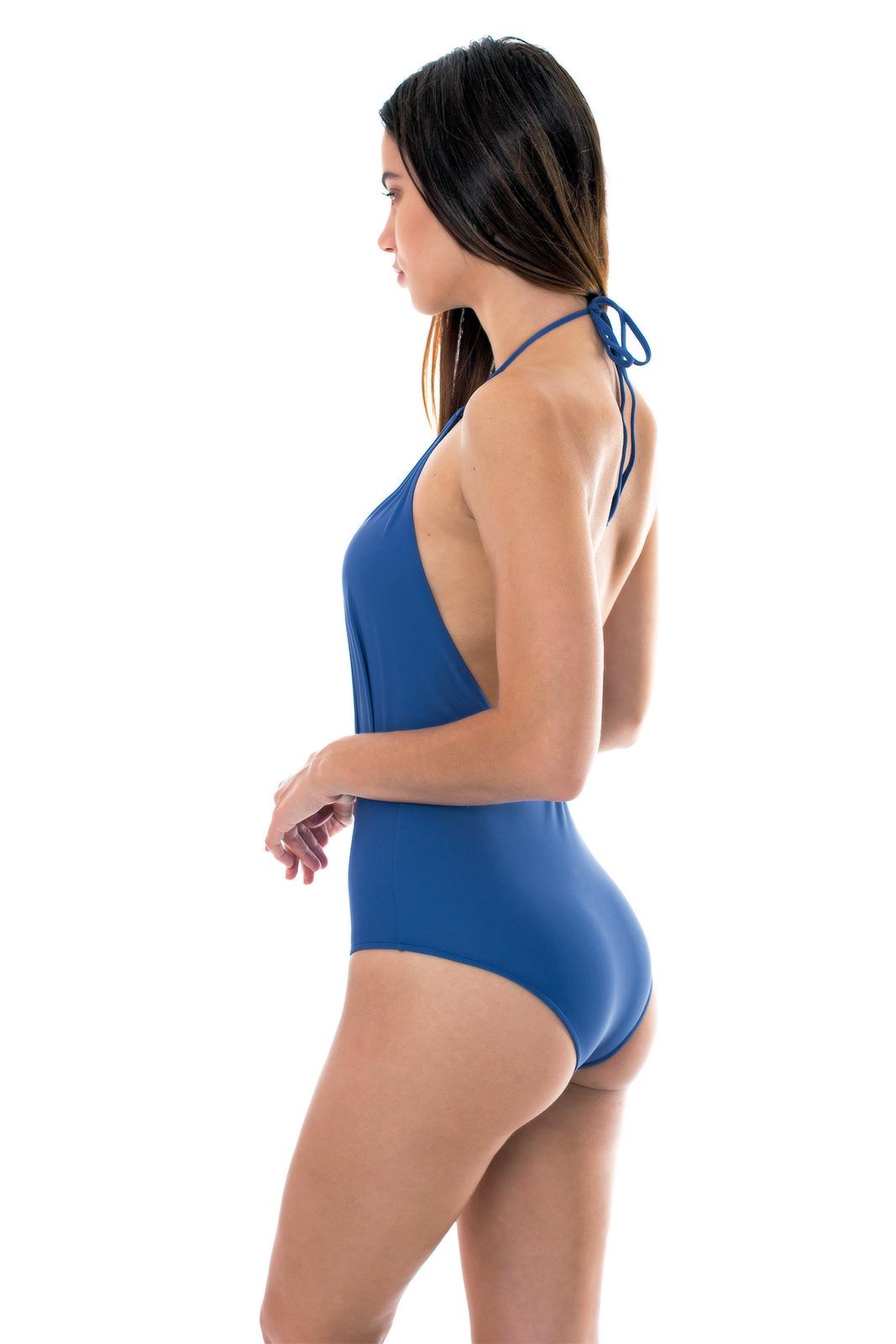 347f59a18f2ec Denim Blue Low-cut 1-piece Swimsuit - Denim Decote Profundo - Rio de Sol