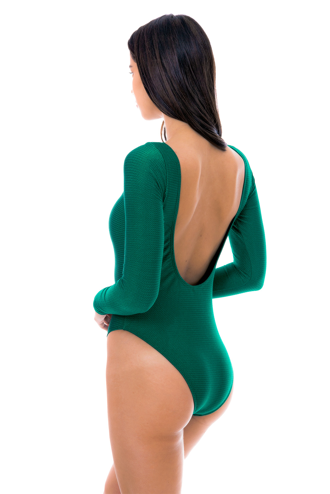 Badpak Extra Lang.Groen Getextureerd Badpak Met Lange Mouwen Duna Green Body Rio
