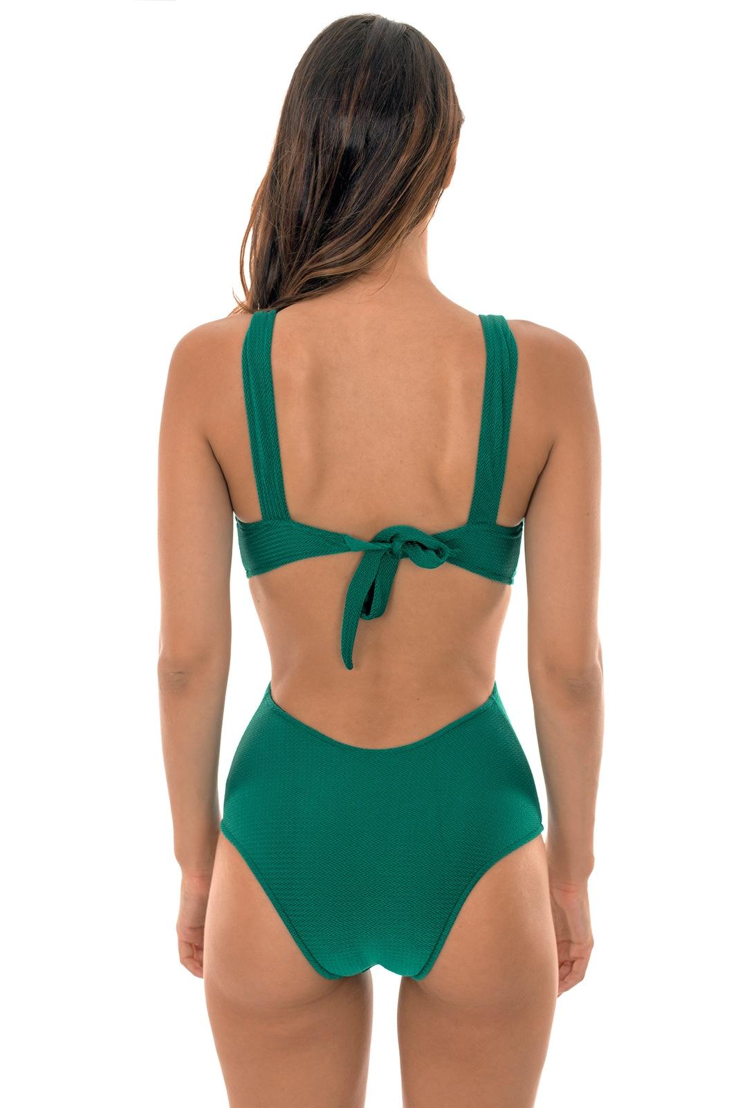4a7c4baa ... Grønn badedrakt med tekstur, dyp utringning - DUNA GREEN TRIQUINI ...