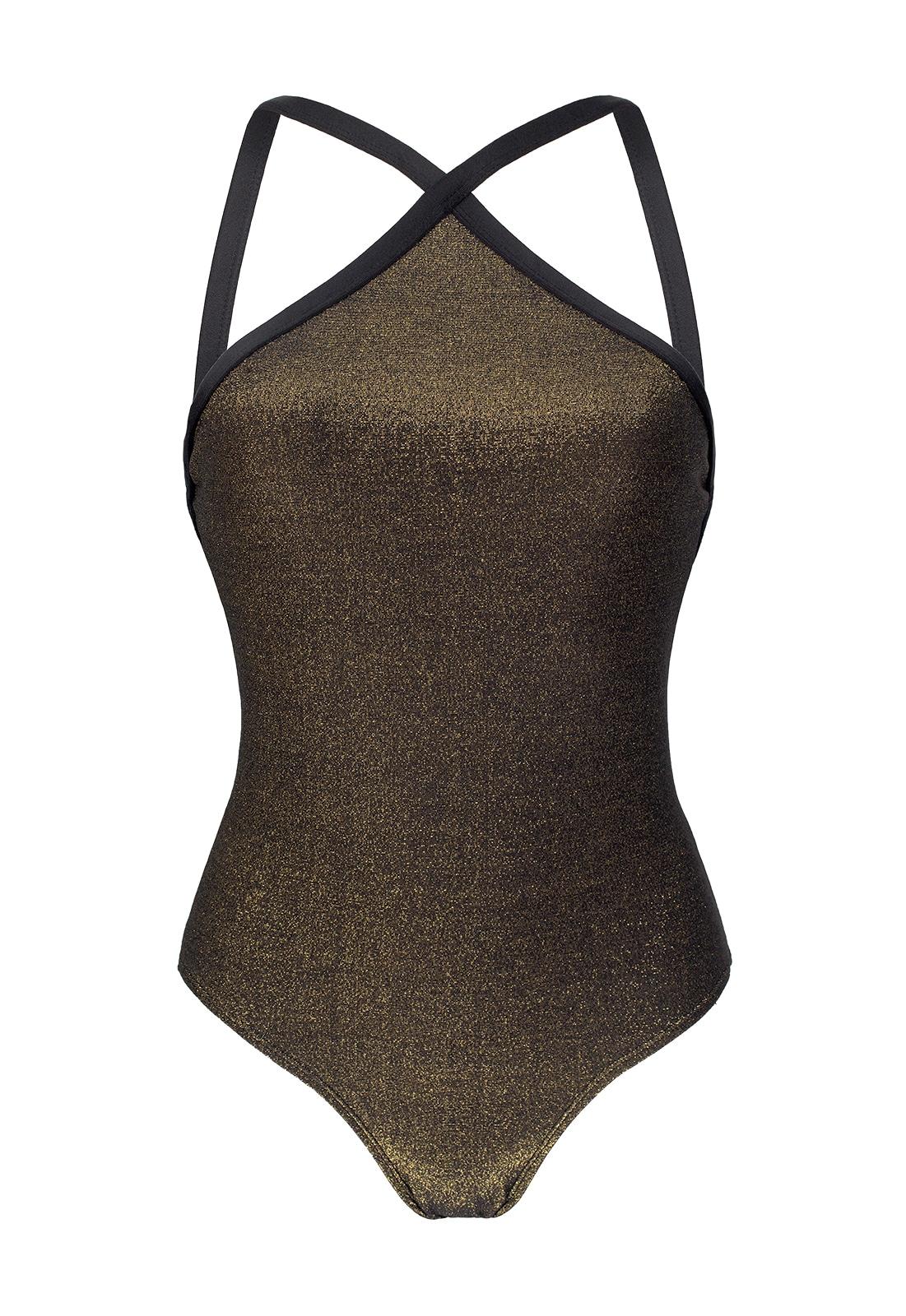 nuovo arrivo bfd0d a7ca4 Costume Da Bagno Nero In Lurex Brillante - High Neck Radiante