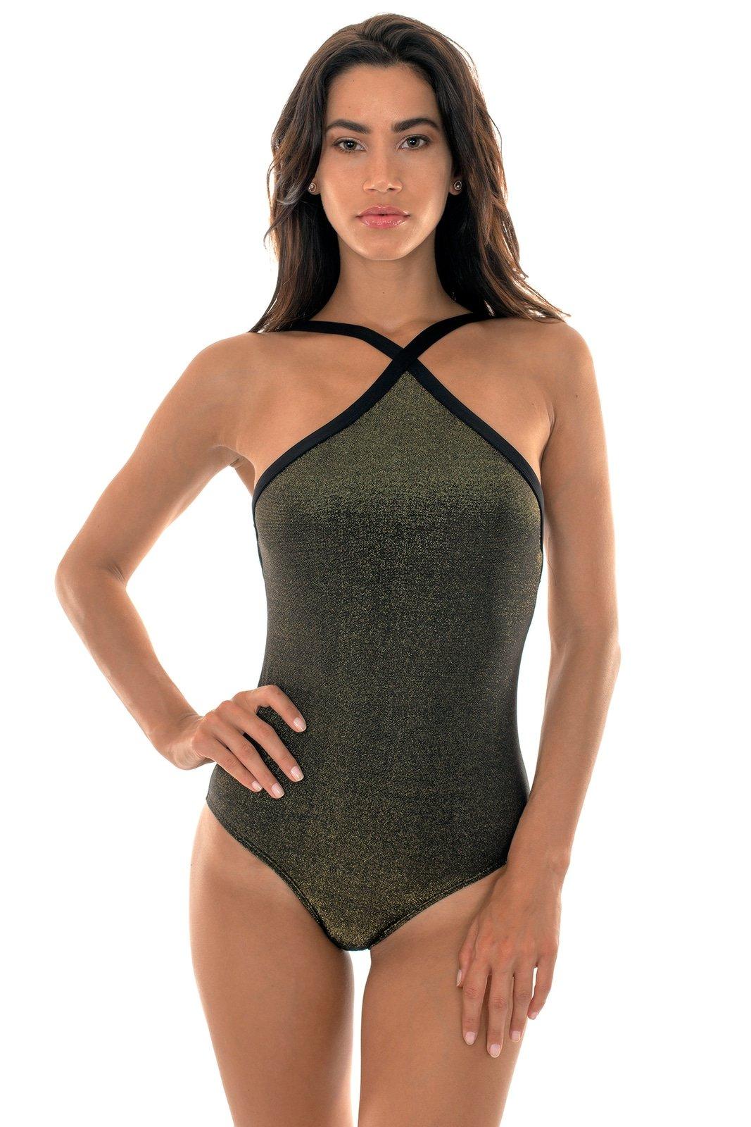 ac31cc8f24881 Shiny Black Lurex One-piece Swimsuit - High Neck Radiante - Rio de Sol