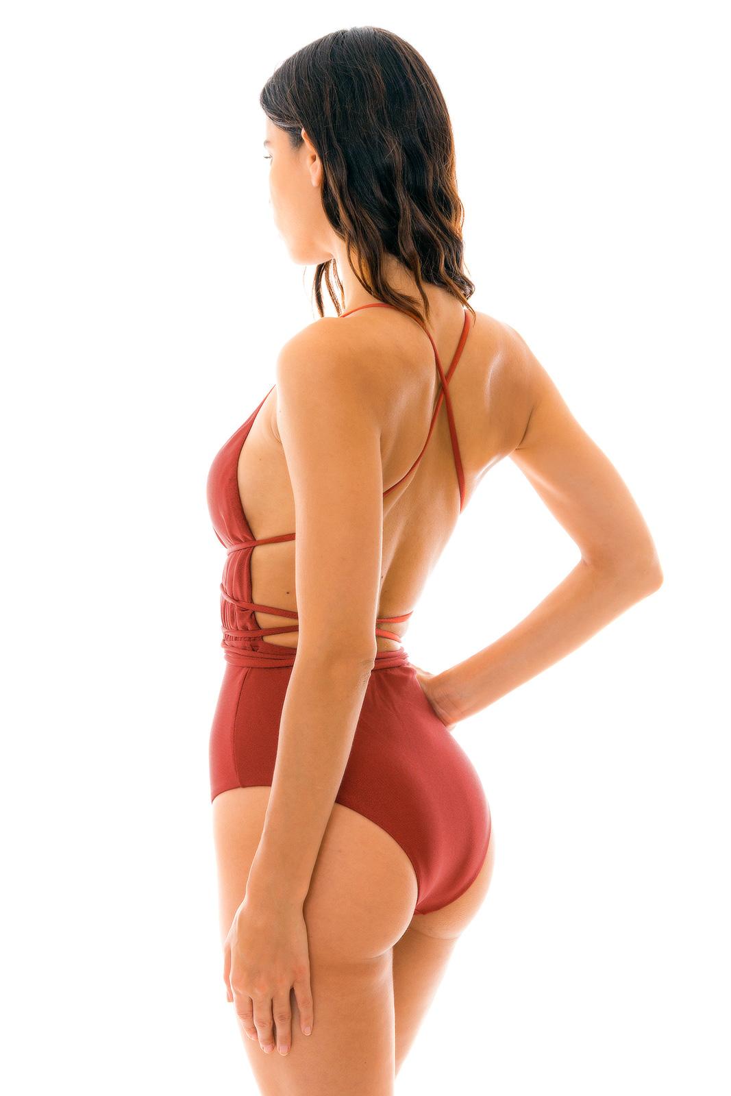 f7363539c76e Burgundy Plunging One-piece Swimsuit - Liquor New Vegas - Rio de Sol