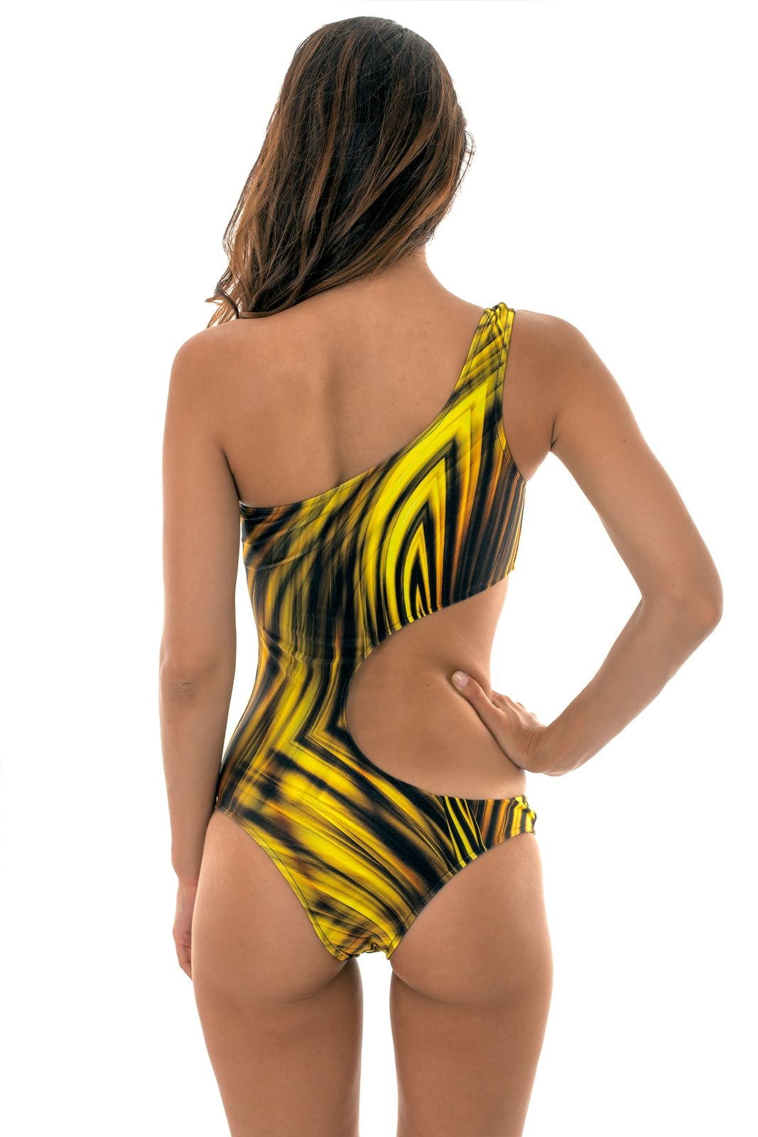 a77c58fcebf86 ... One piece asymmetrical swimsuit with a golden yellow print - LUXOR  ASSIMETRICO ...