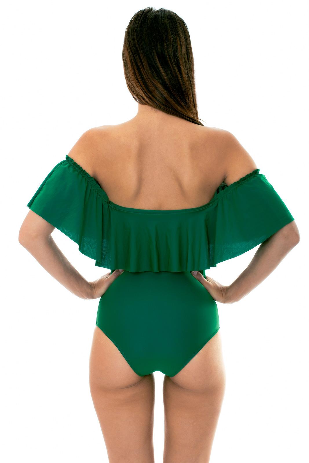 6dd16b373ffb71 ... Floucy green one-piece bandeau swimsuit - MANDACARU MAIO BABADO ...