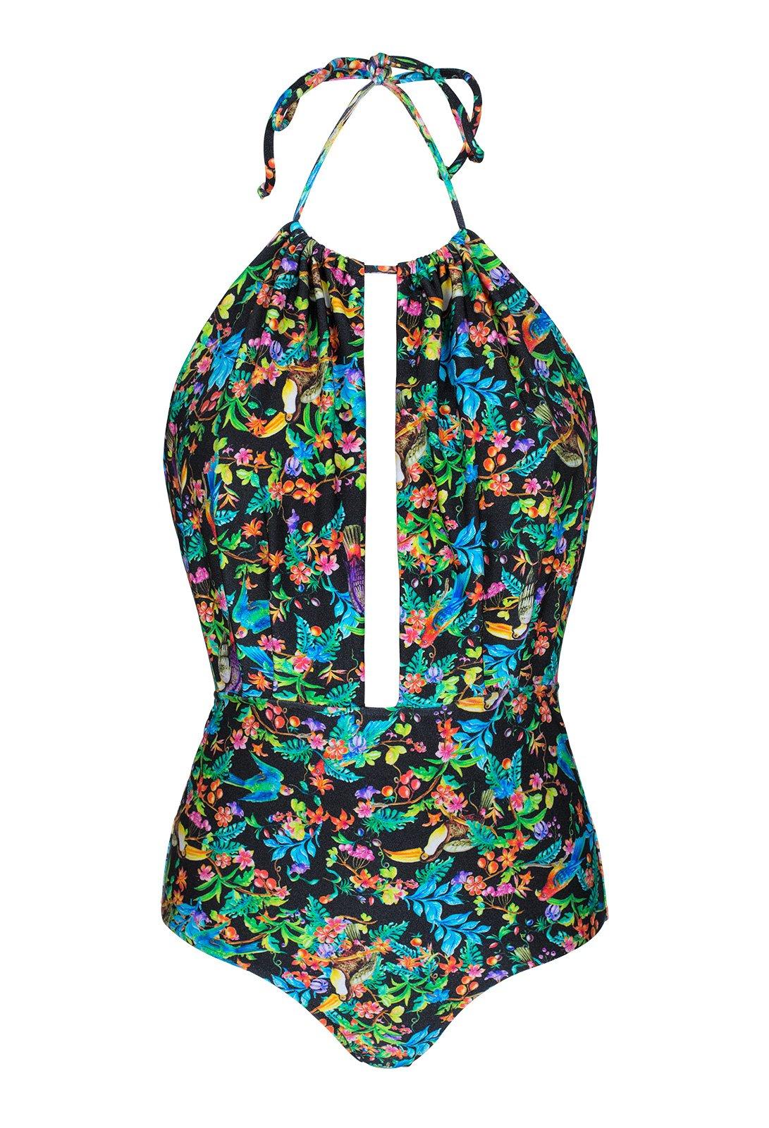 01d88ef5b733ac Czarny kostium kąpielowy z głębokim dekoltem - REALITY FLOWER DECOTE  PROFUNDO ...