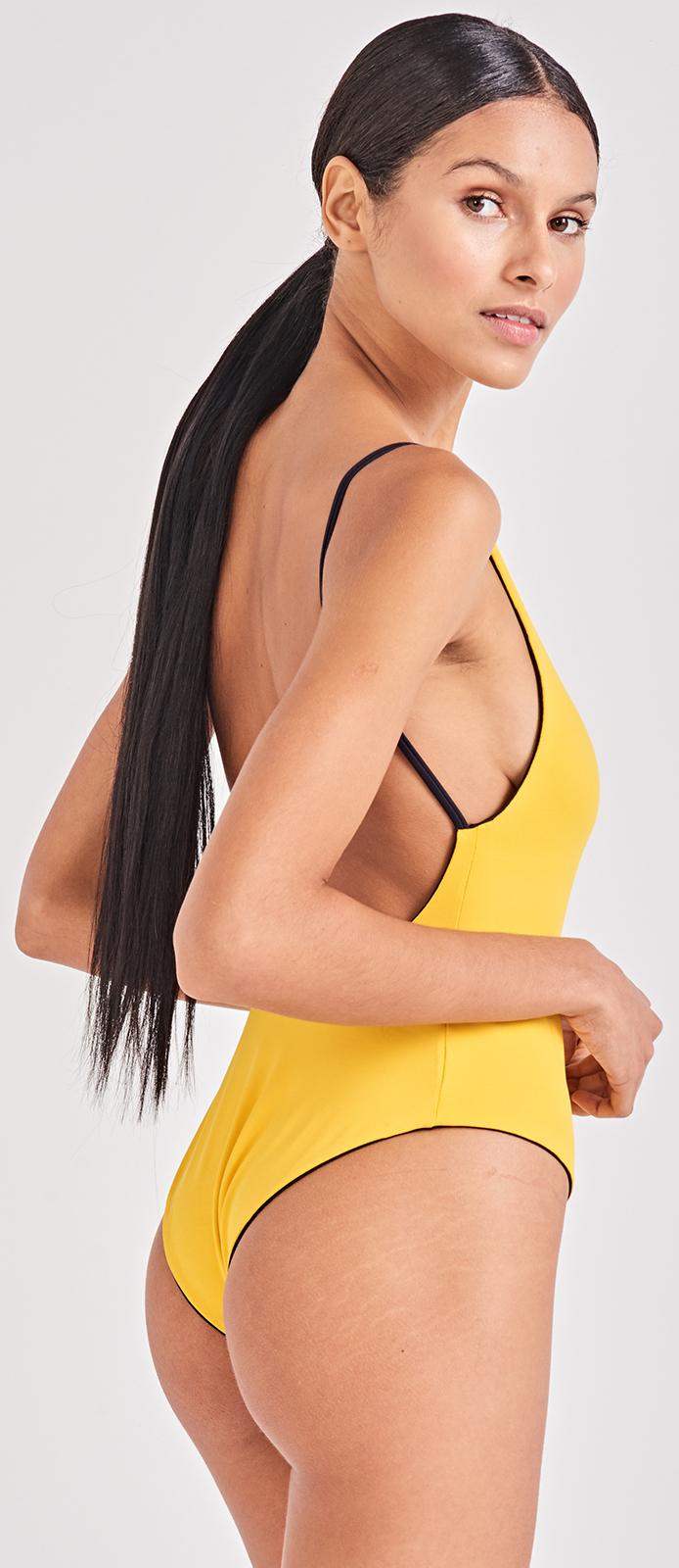 d5b3dc852575f ... Yellow / navy reversible one-piece swimsuit - FELICITY AMARELO ...