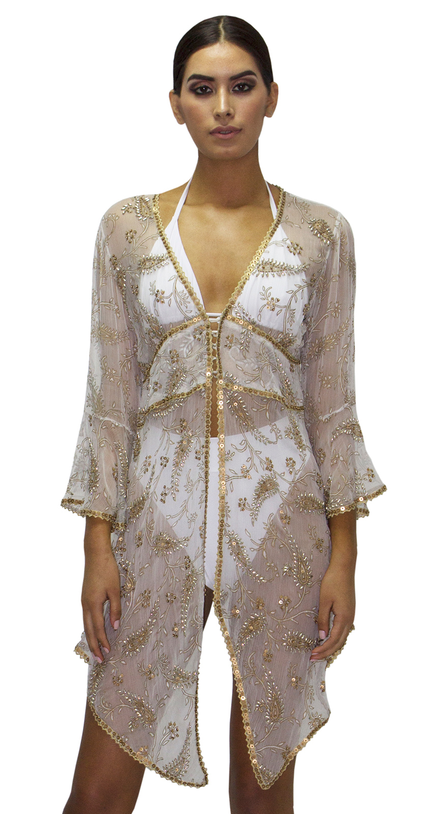 0aad55f541 Luxurious Embroidered Beach Dress With Golden Sequins And Rhinestones -  Cape Virgen Del Sol - Aguaclara