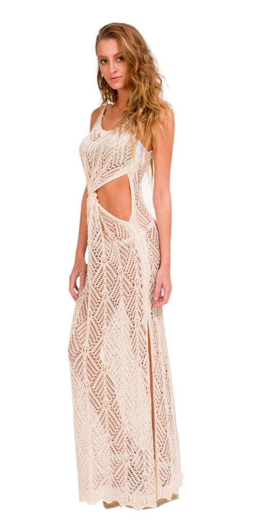 langes nude kleid mit schlitz vorne gedreht geh kelte maschenware sandra dress. Black Bedroom Furniture Sets. Home Design Ideas