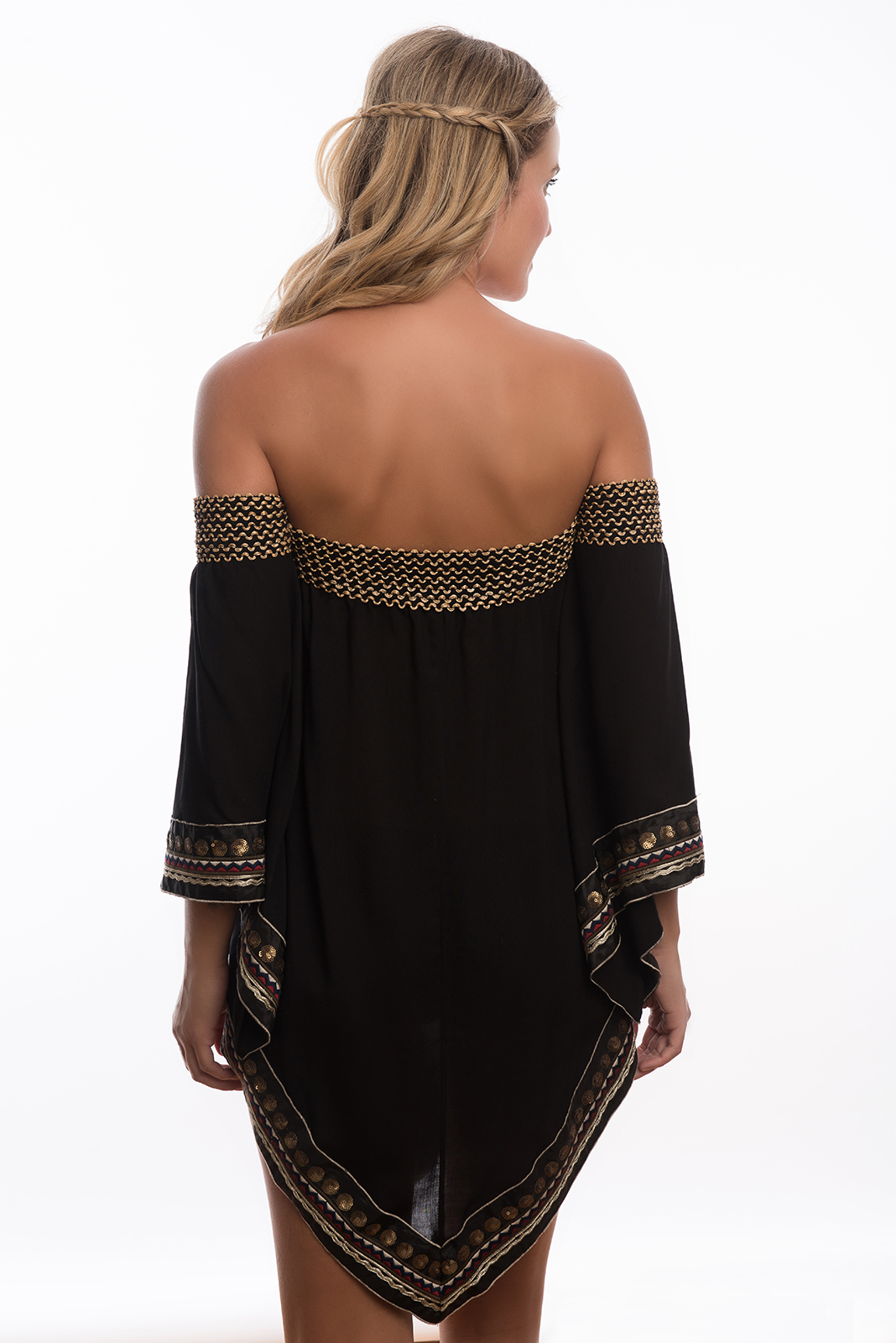 236dfcfe9b0a ... Sort broderet tunika strandkjole i orientalsk stil - CALICUTE TUNIC  BLACK ...